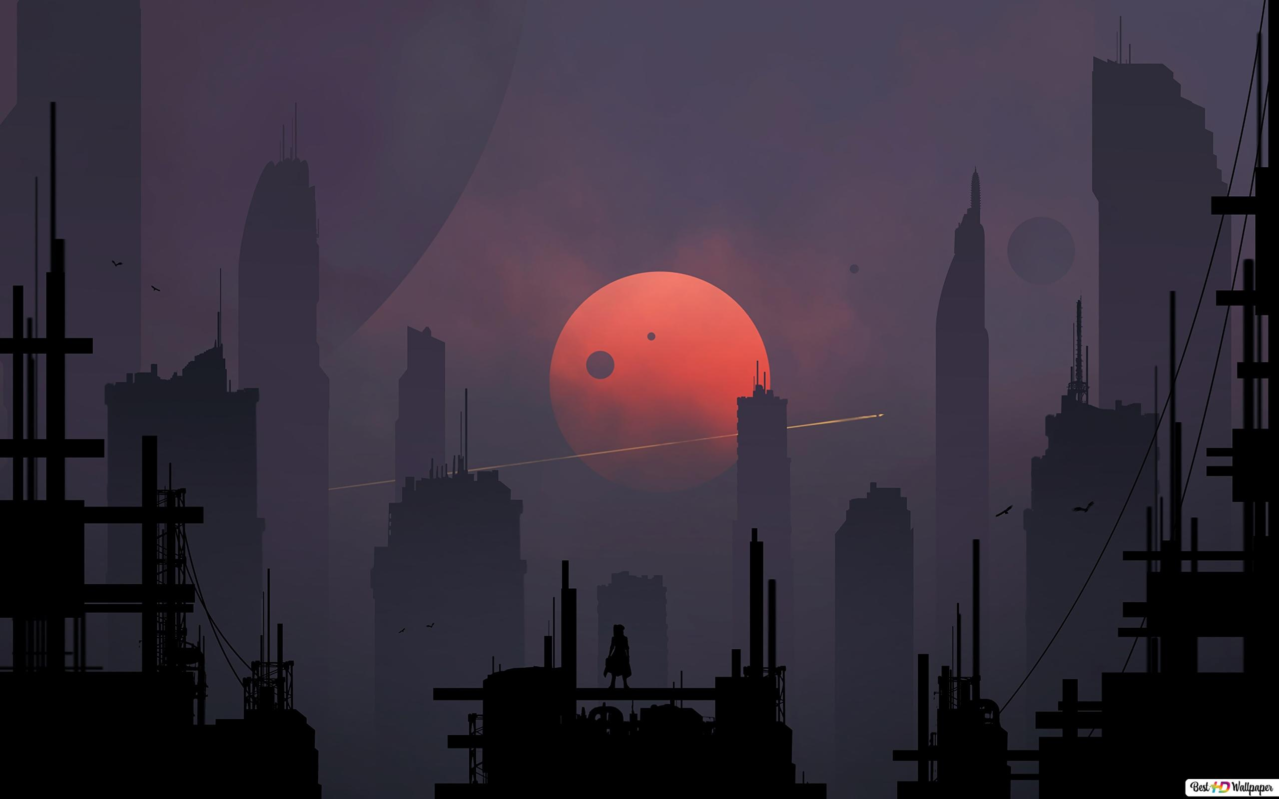 Red Moon HD wallpaper download