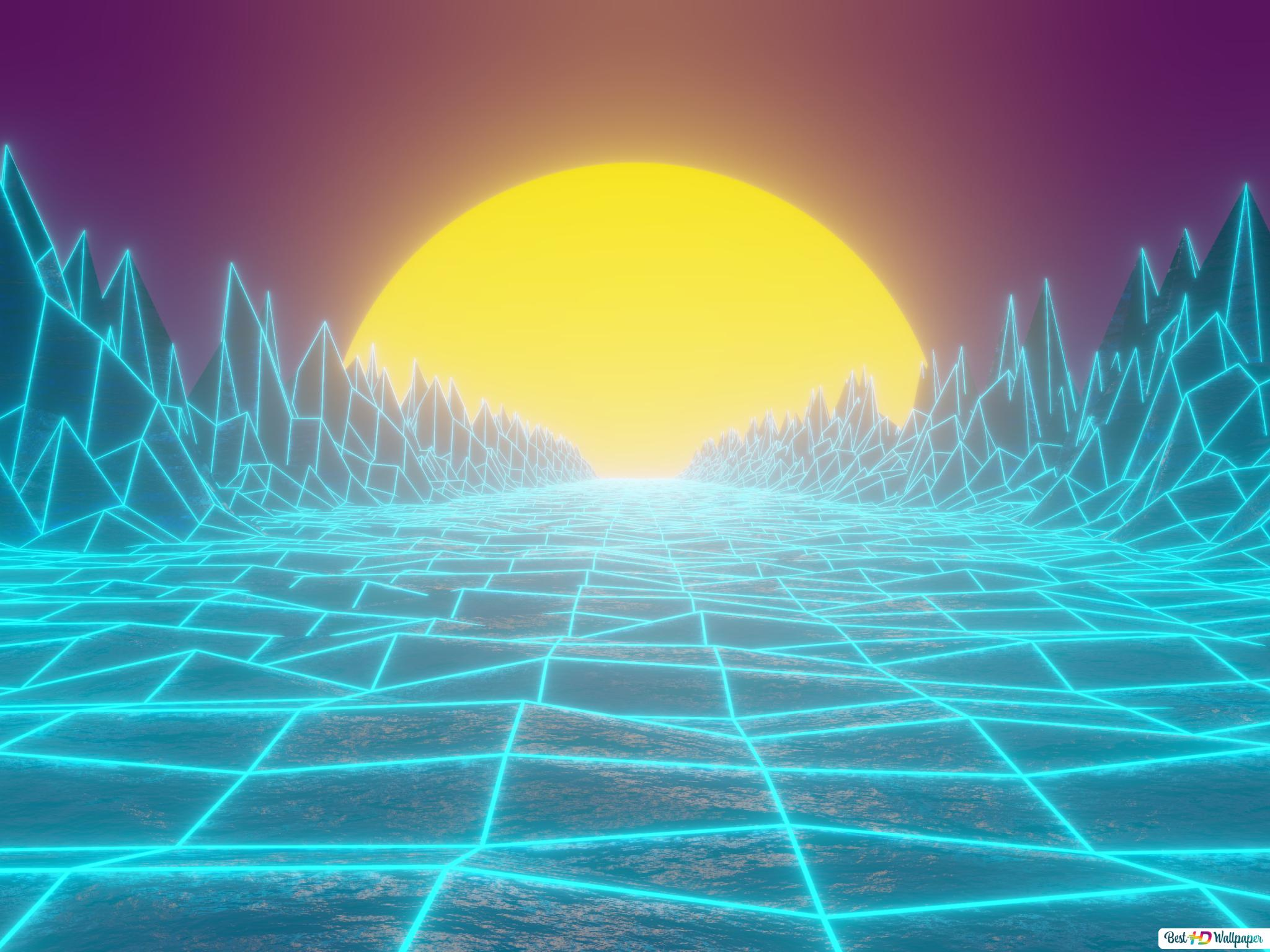 Retrowave HD wallpaper download