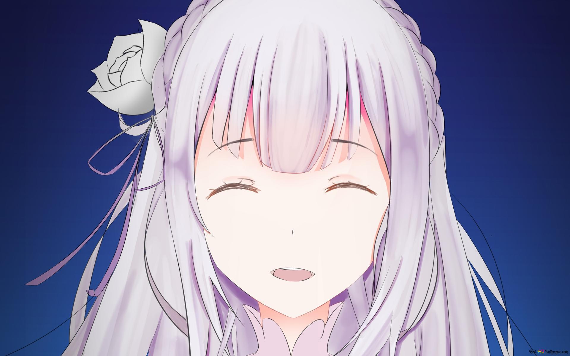 Rezero Demarrage Vie Dans Un Autre Monde Emilia Sourire Hd Fond