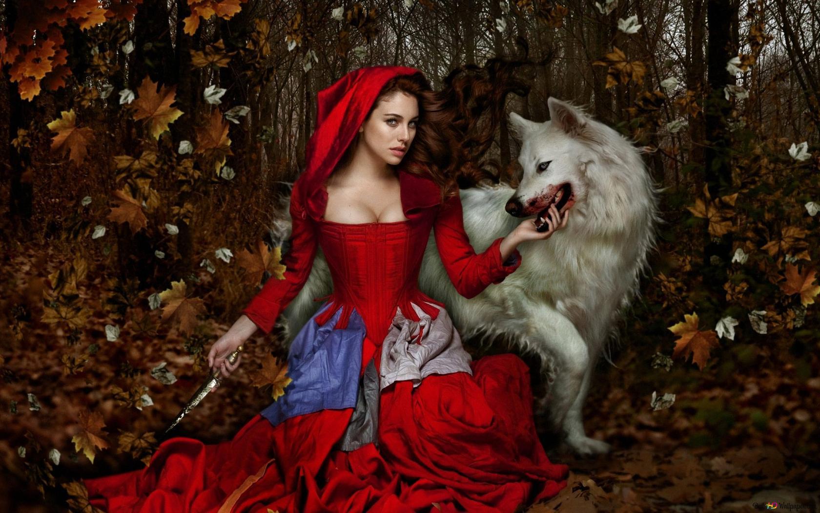 Verwonderend Roodkapje en de Wolf HD wallpaper downloaden HP-52