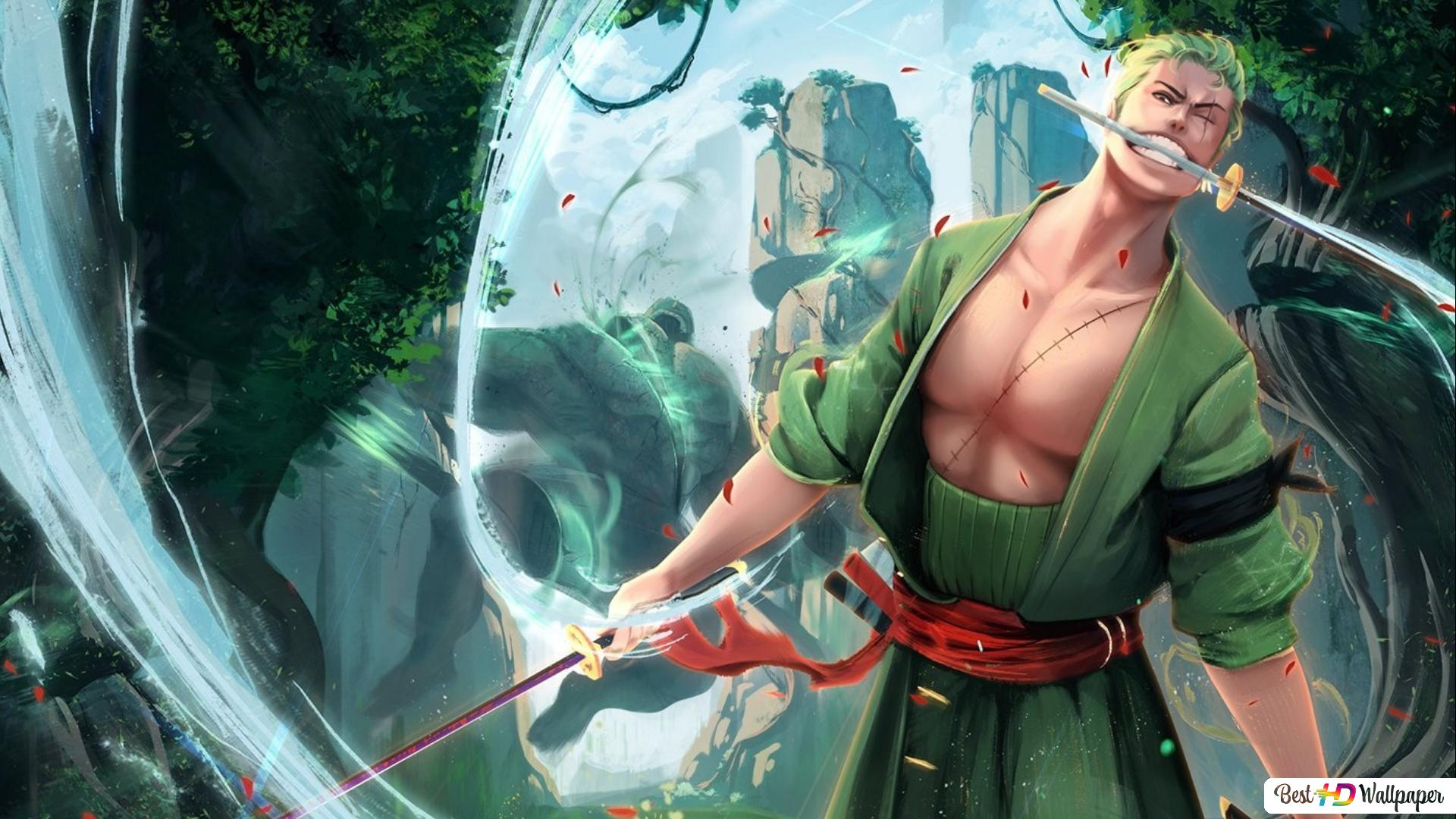 One Piece Zoro Hd Wallpaper 1920x1080 Gambarku