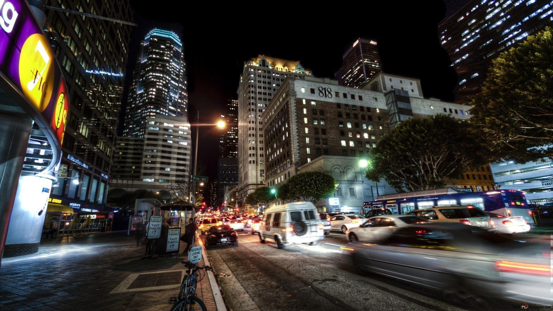 ロサンゼルスの夜の摩天楼 Hd壁紙のダウンロード