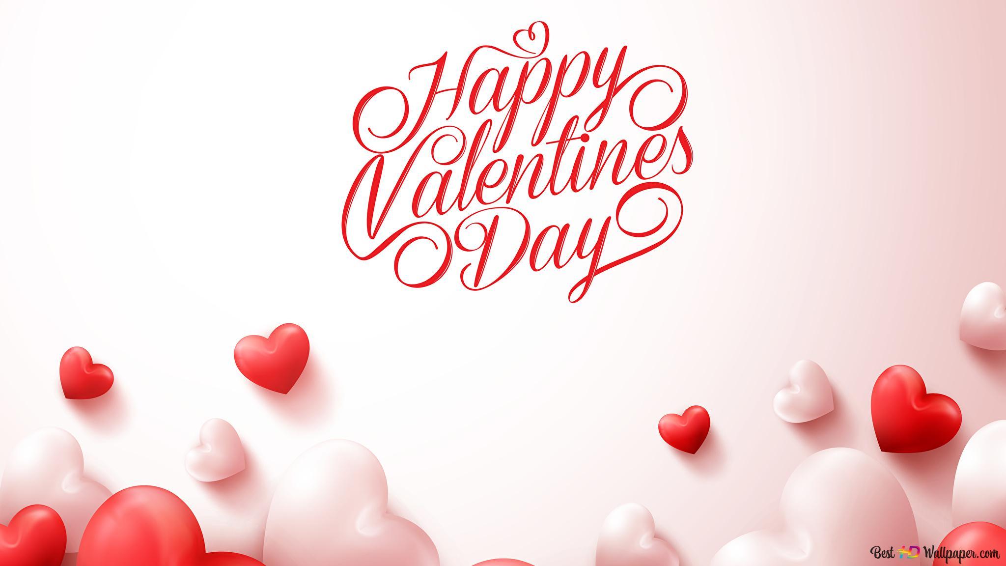 Saint Valentin Ballons Coeur Rouge Et Blanc Hd Fond D