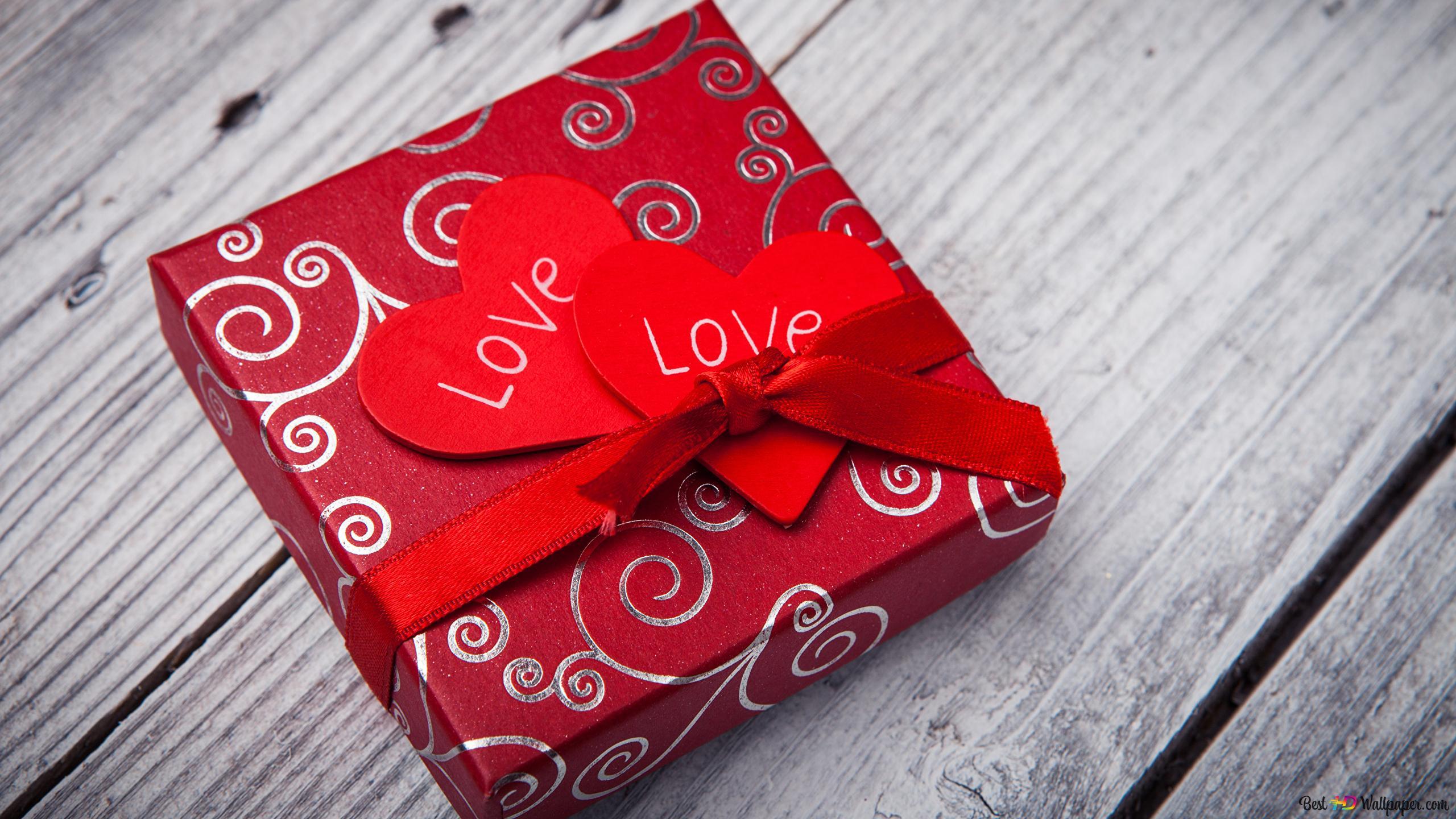 Saint Valentin Boîte Cadeau Rouge Avec La Note Damour Hd