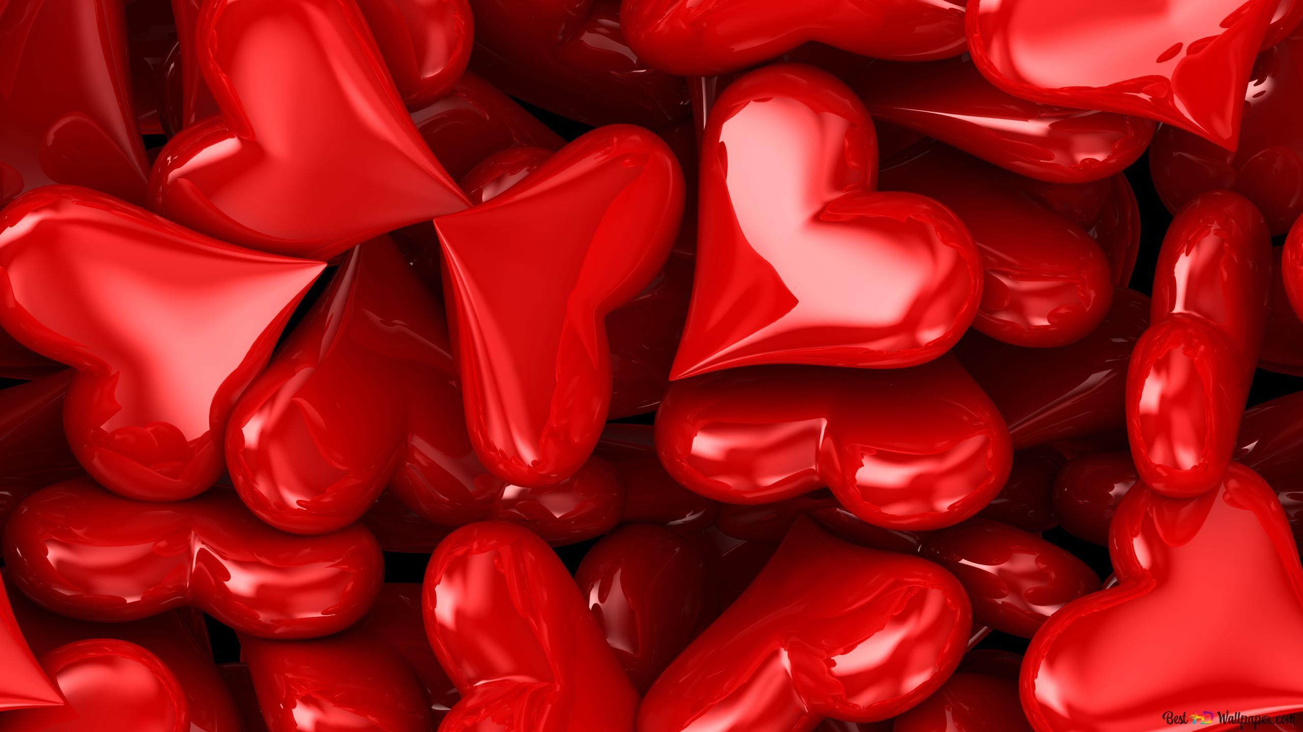 Saint Valentin Bonbons Coeurs Rouges Artistiques Hd Fond D
