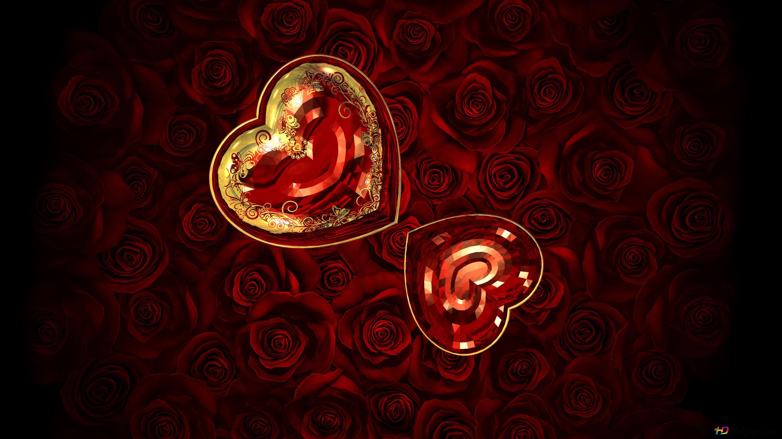 Saint Valentin Cristal Coeurs Rouges Hd Fond Décran