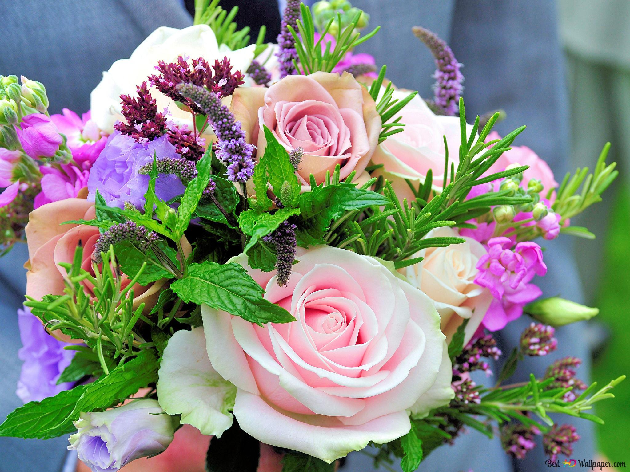 Saint Valentin Roses Multicolores Et Bouquet De Fleurs Hd Fond D