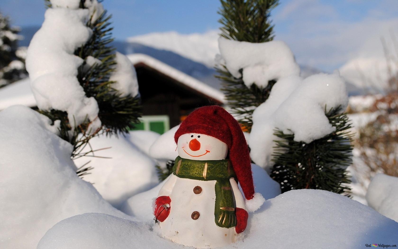 Schneemann Feiert Weihnachten Hd Hintergrundbilder Herunterladen