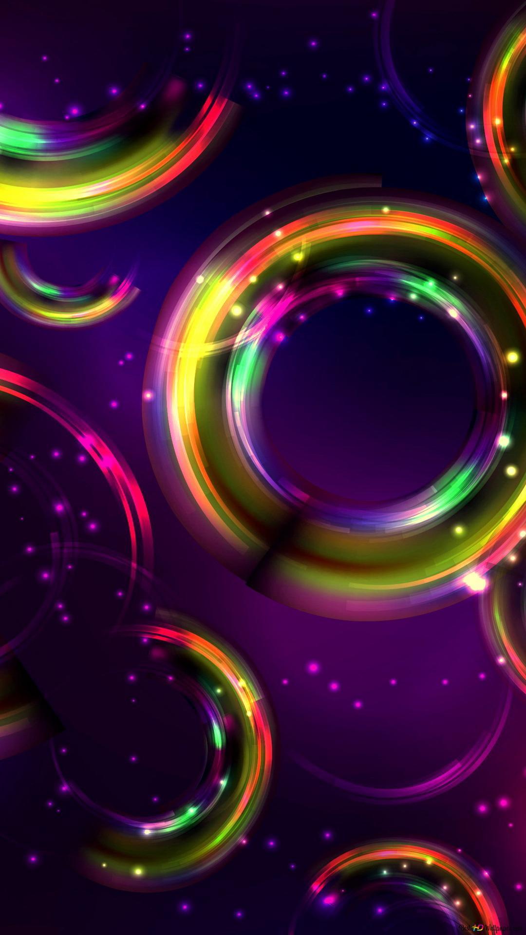 閃閃發光的彩虹泡泡高清壁紙下載