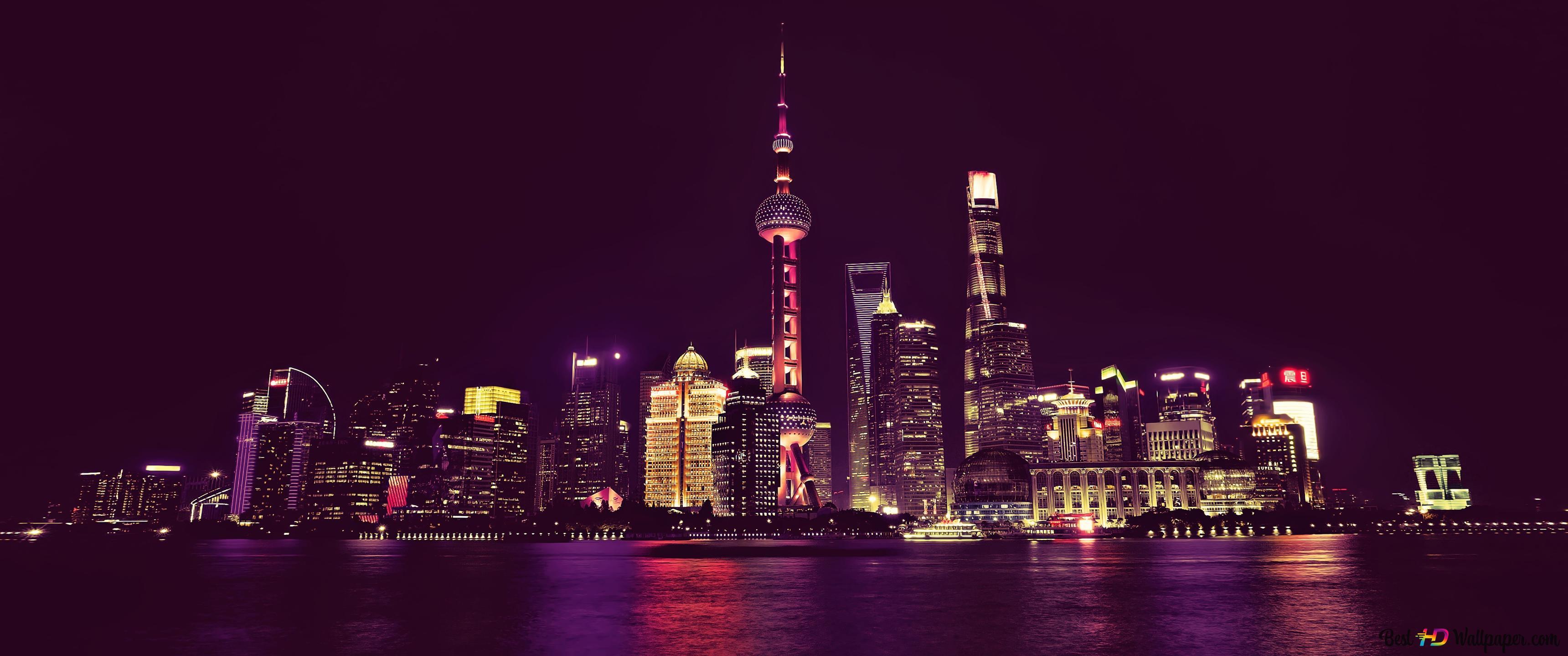 上海 中国の夜 Hd壁紙のダウンロード