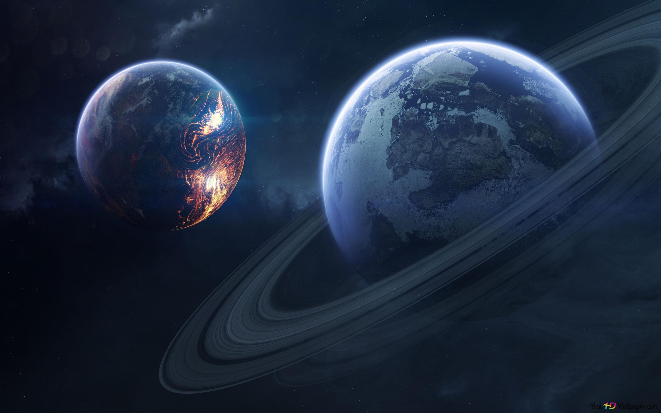 世界と土星 Hd壁紙のダウンロード