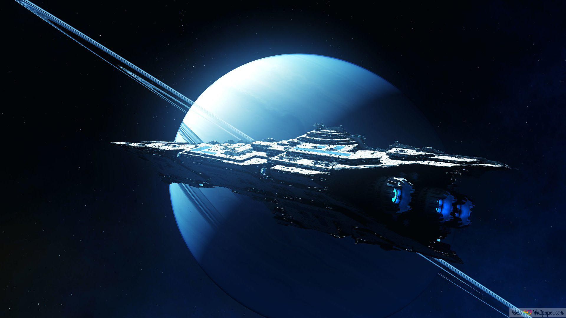 Spaceship Near Saturn Hd Wallpaper Download