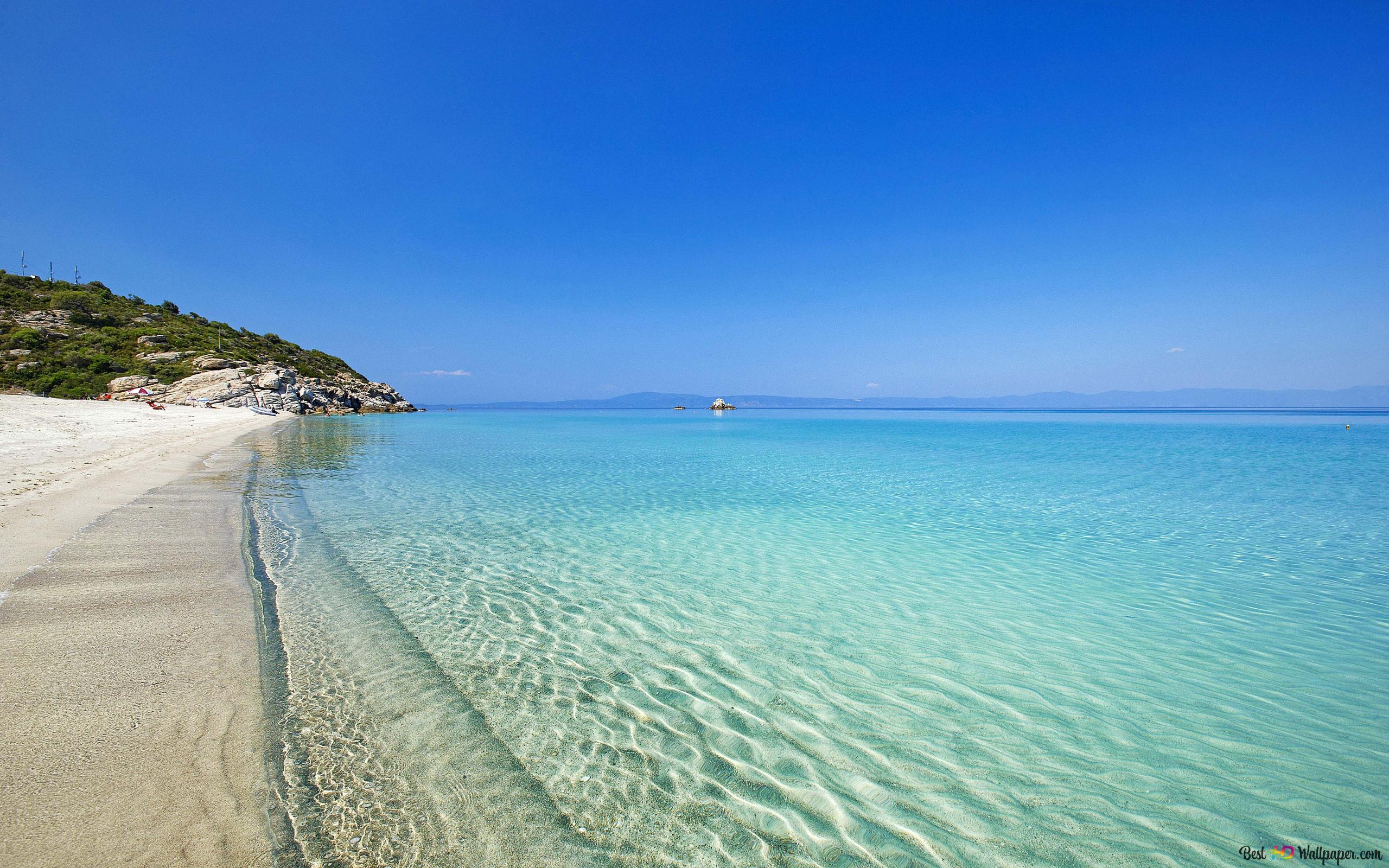 Spiaggia In Riva Al Mare In Grecia Download Di Sfondi Hd