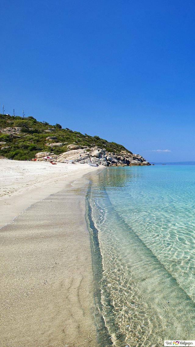 Spiaggia In Riva Al Mare In Grecia Download Di Sfondi Hd