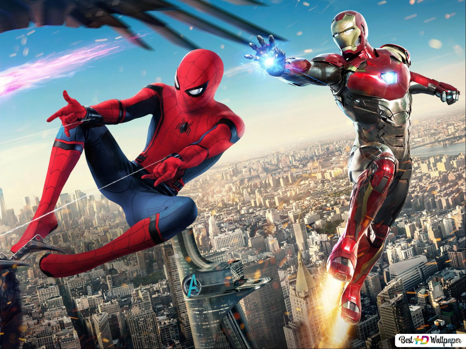 Spider Man Homecoming Movie Spiderman And Ironman Fighting With