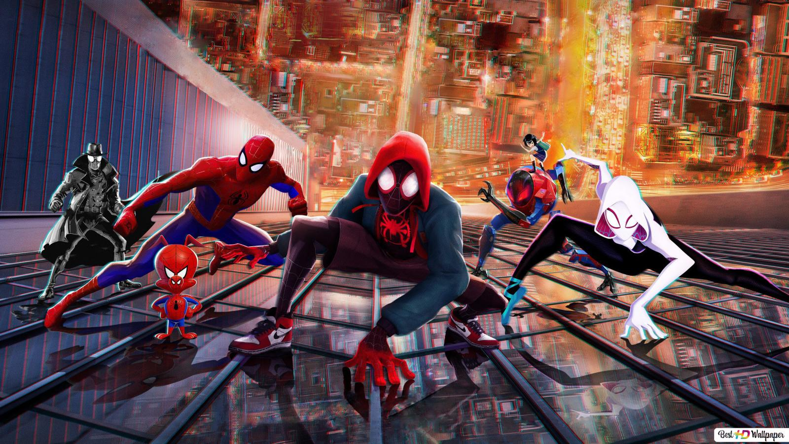 Spider Man Into The Spider Verse Movie Heroes Hd Wallpaper Download
