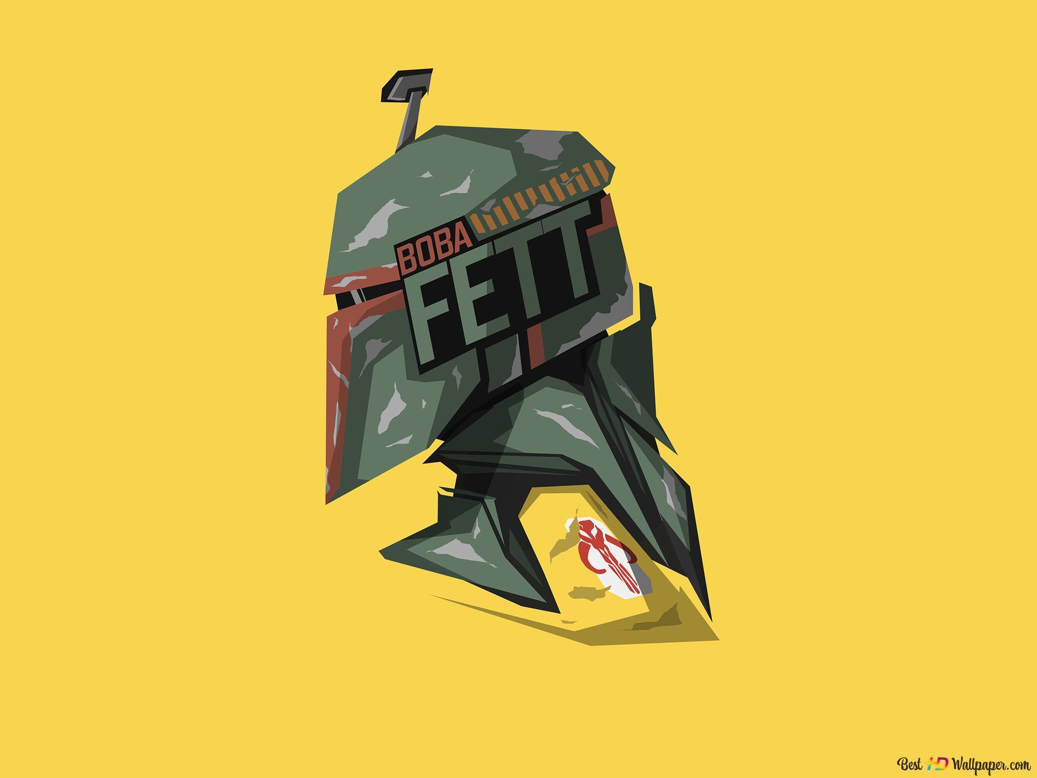 Star Wars Boba Fett Minimalist In Yellow Wallpaper Background Hd Wallpaper Download