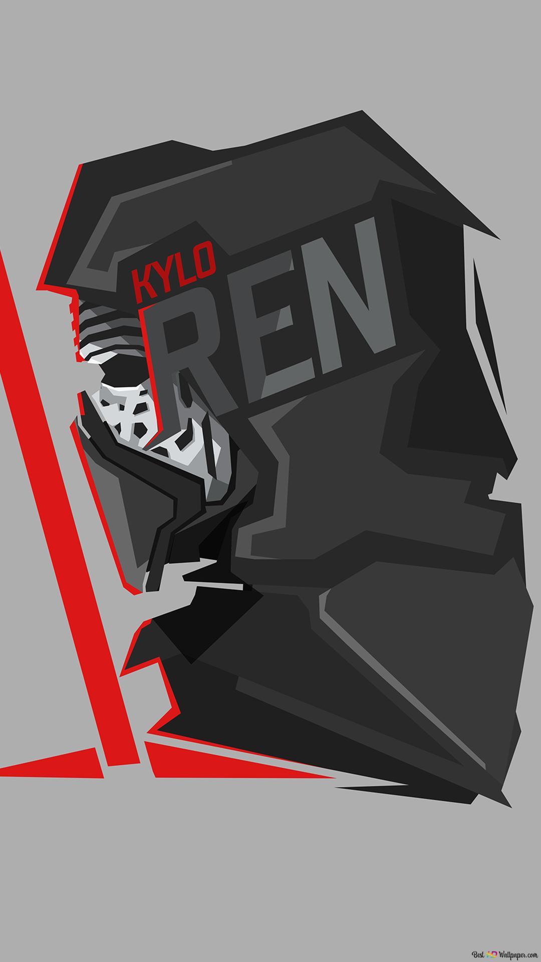 Star Wars Kylo Ren In Gray Wallpaper Minimalist Hd Wallpaper Download