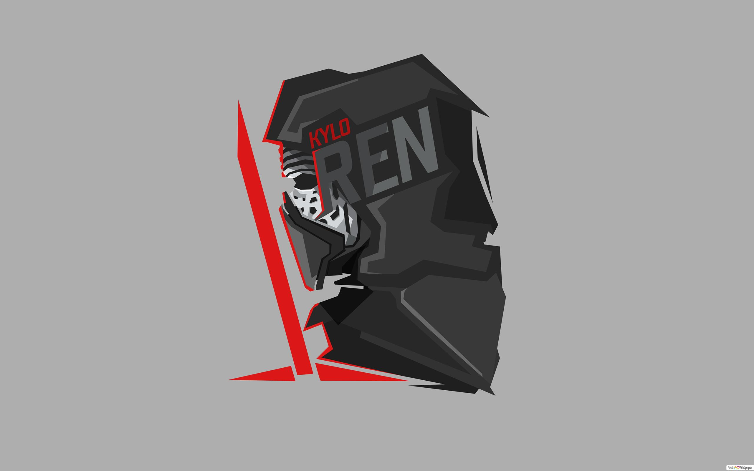 Star Wars Kylo Ren In Gray Wallpaper Minimalist Hd Wallpaper Download