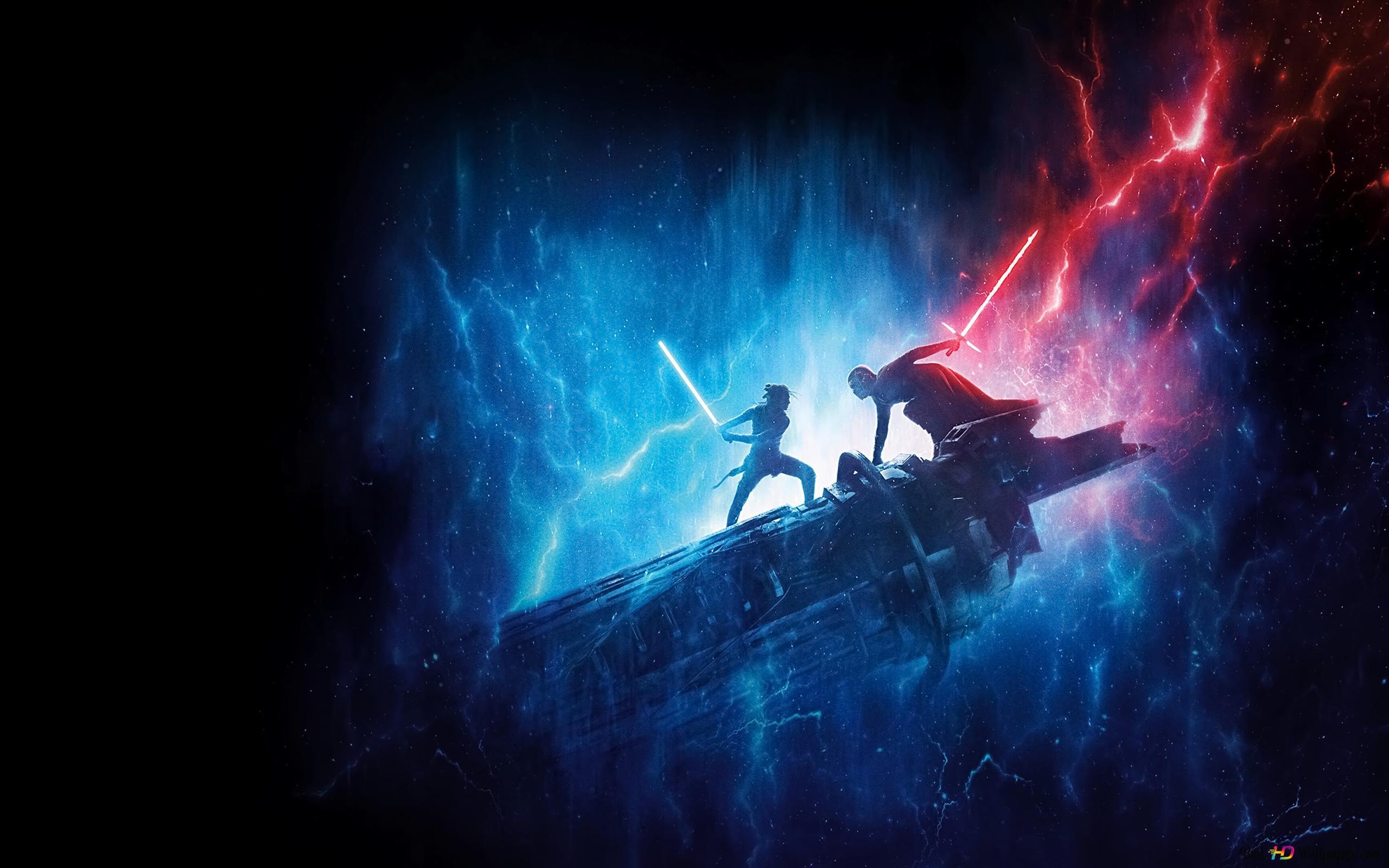 star wars rey s blue lightsaber vs kylo ren s red lightsaber wallpaper 2560x1600 42018 7