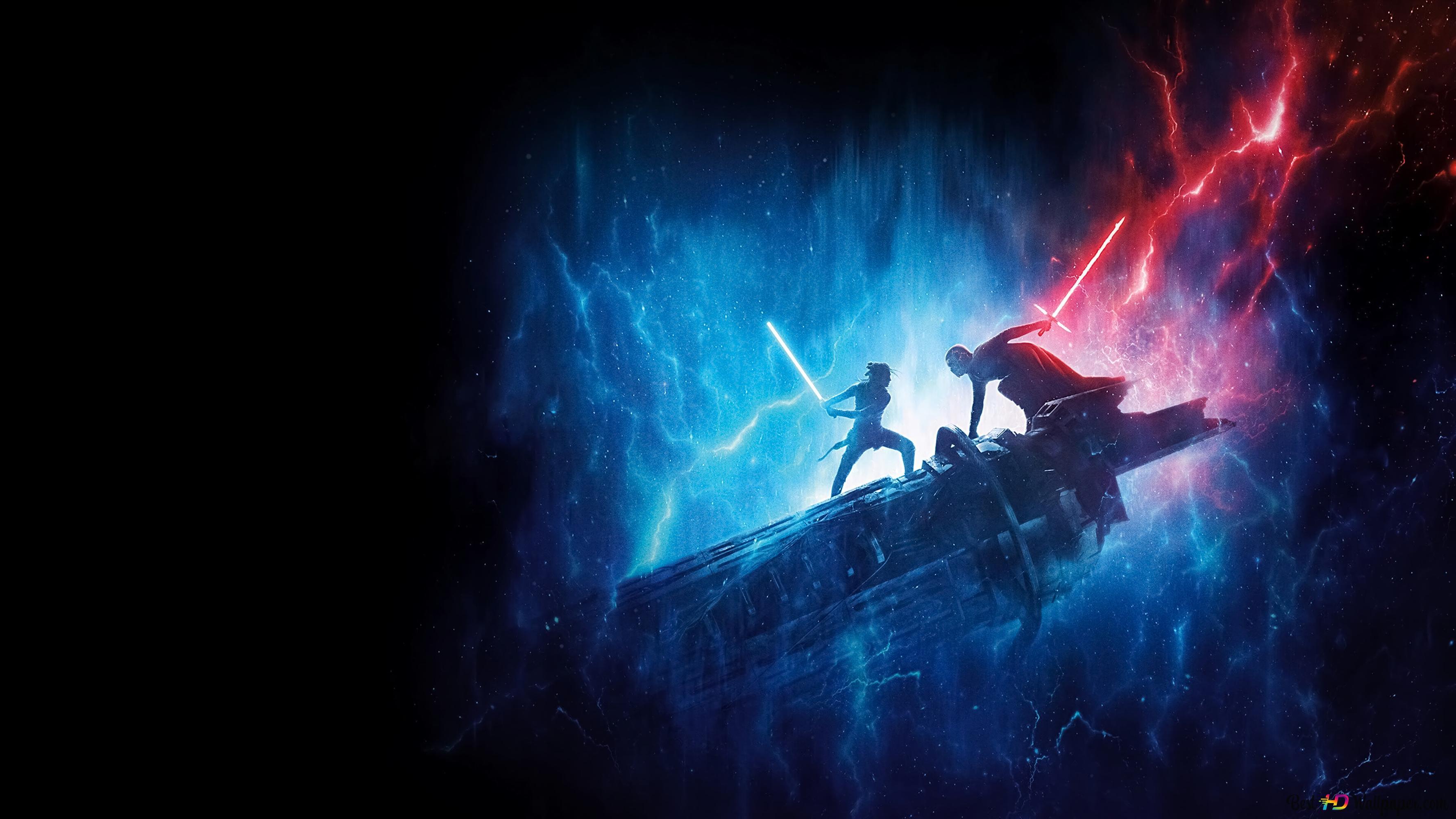 Star Wars Rey S Blue Lightsaber Vs Kylo Ren S Red Lightsaber Hd Wallpaper Download