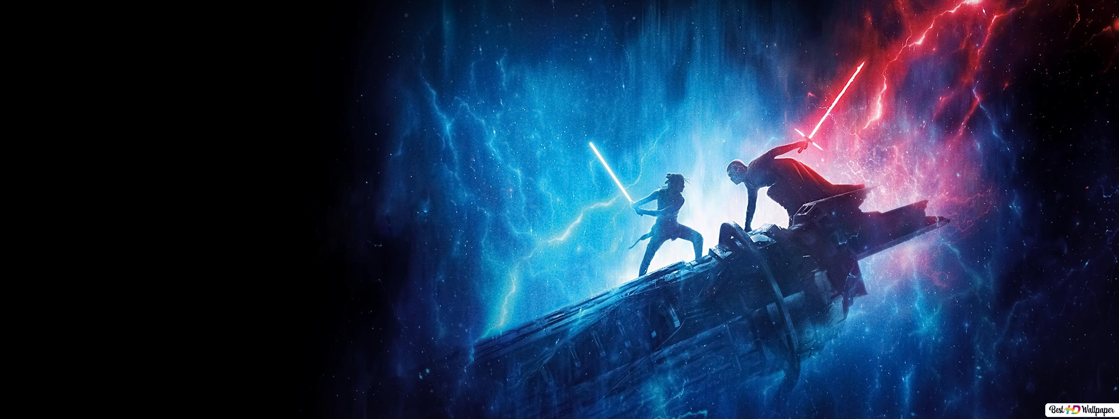 Star Wars Rey S Blue Lightsaber Vs Kylo Ren S Red Lightsaber Hd Wallpaper Download