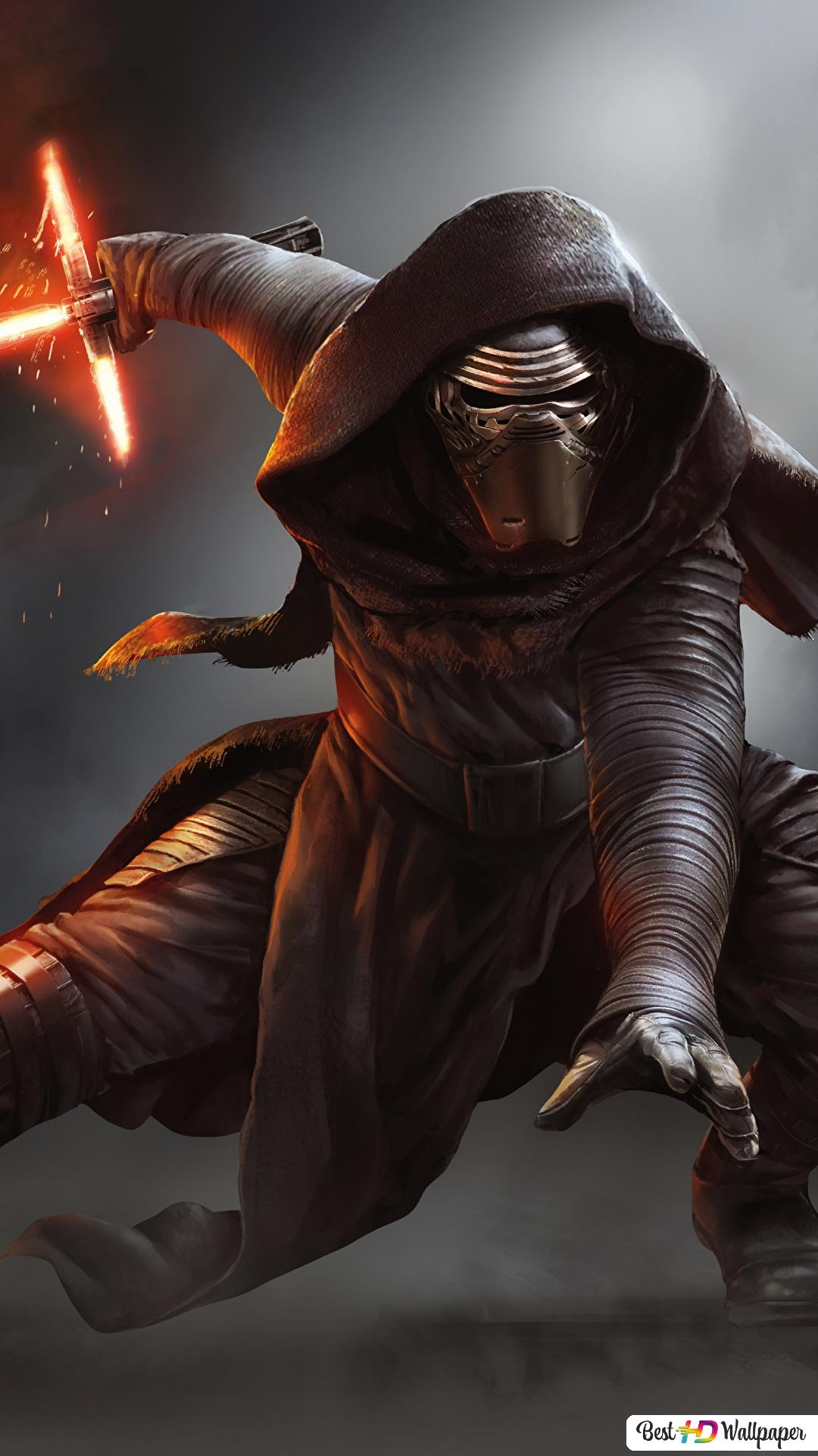 Star Wars The Force Awakens Movie Kylo Ren With Lightsaber Hd Wallpaper Download