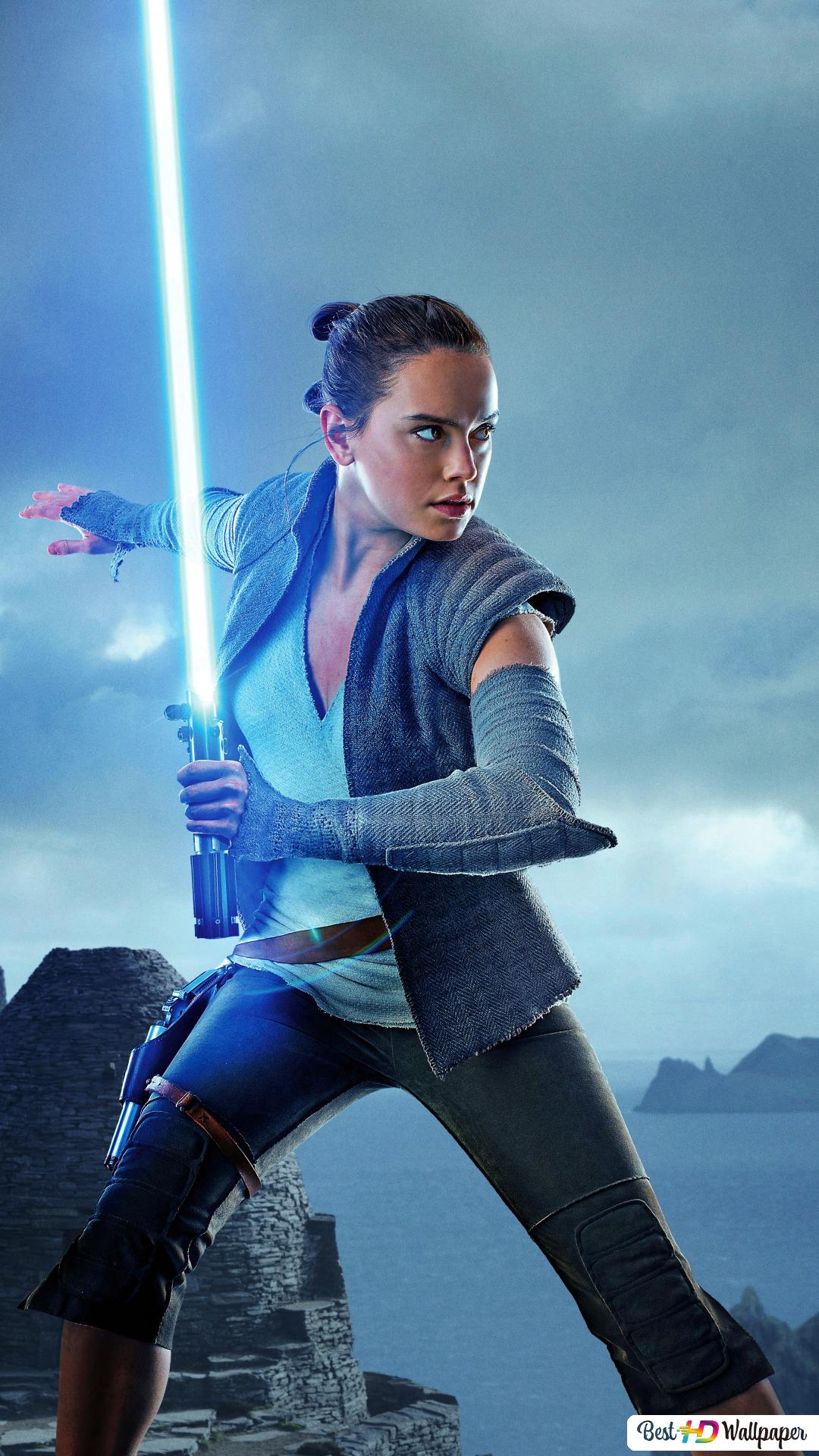 Star Wars The Last Jedi Movie Rey With Lightsaber Hd Wallpaper Download