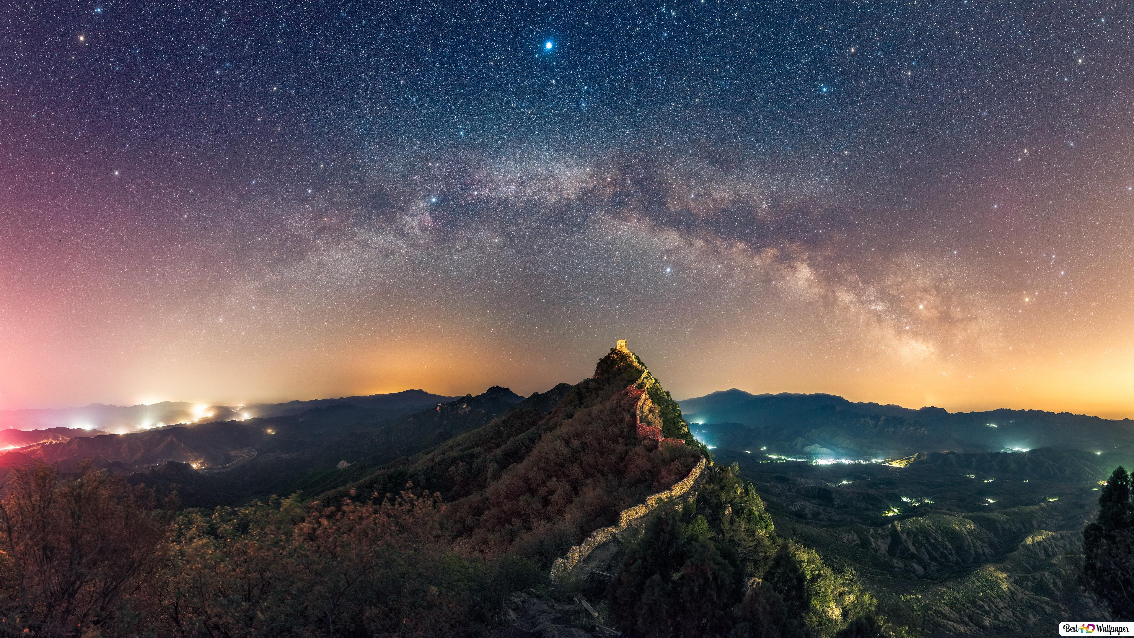 Starry Night At The Great Wall Of China Hd Wallpaper Download