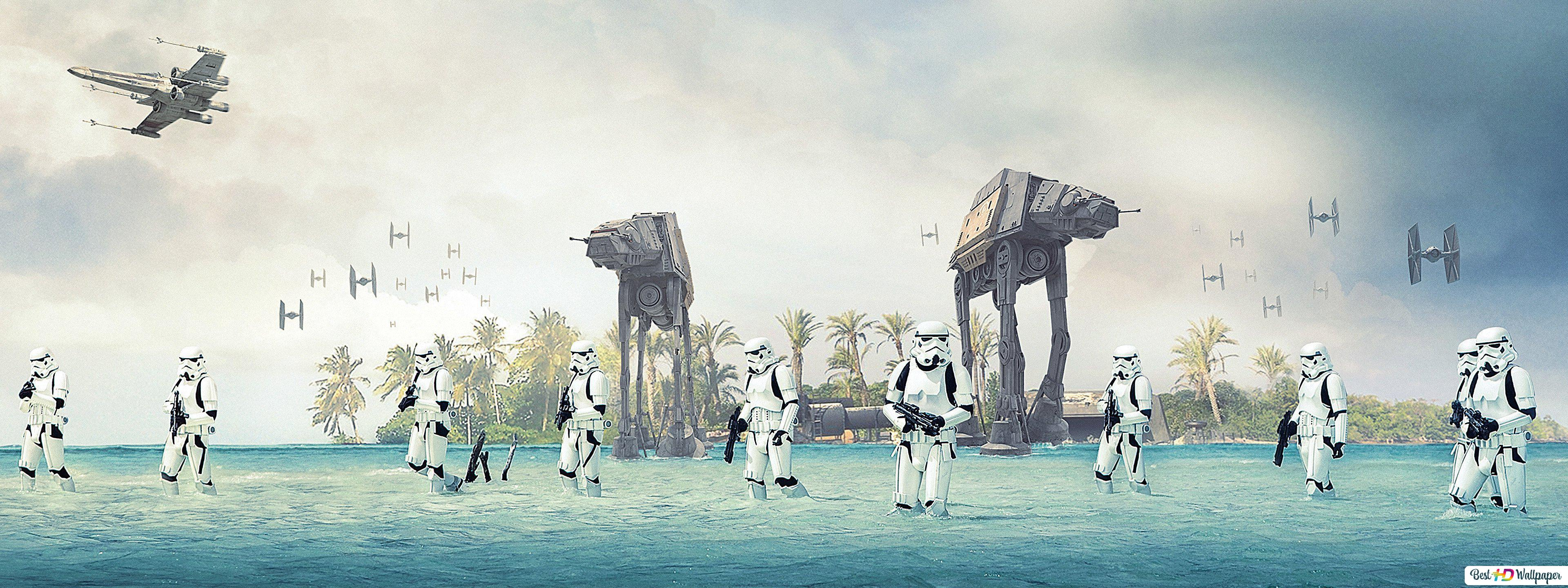 Stormtrooper With At At Walker Of Star Wars Hd Wallpaper Download