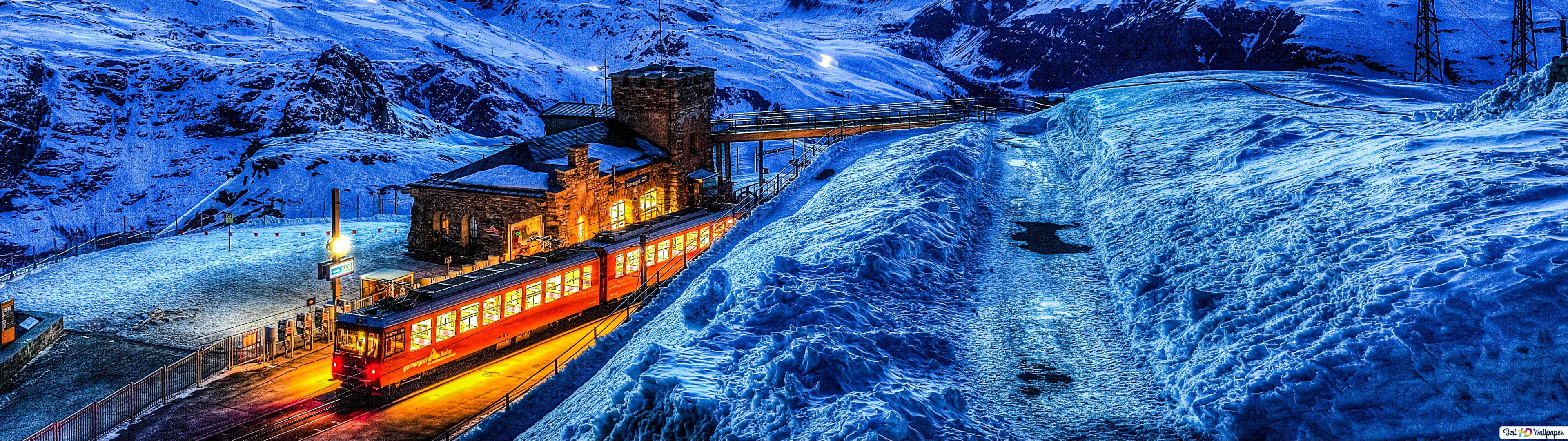 スイスのマッターホルンによる列車 Hd壁紙のダウンロード