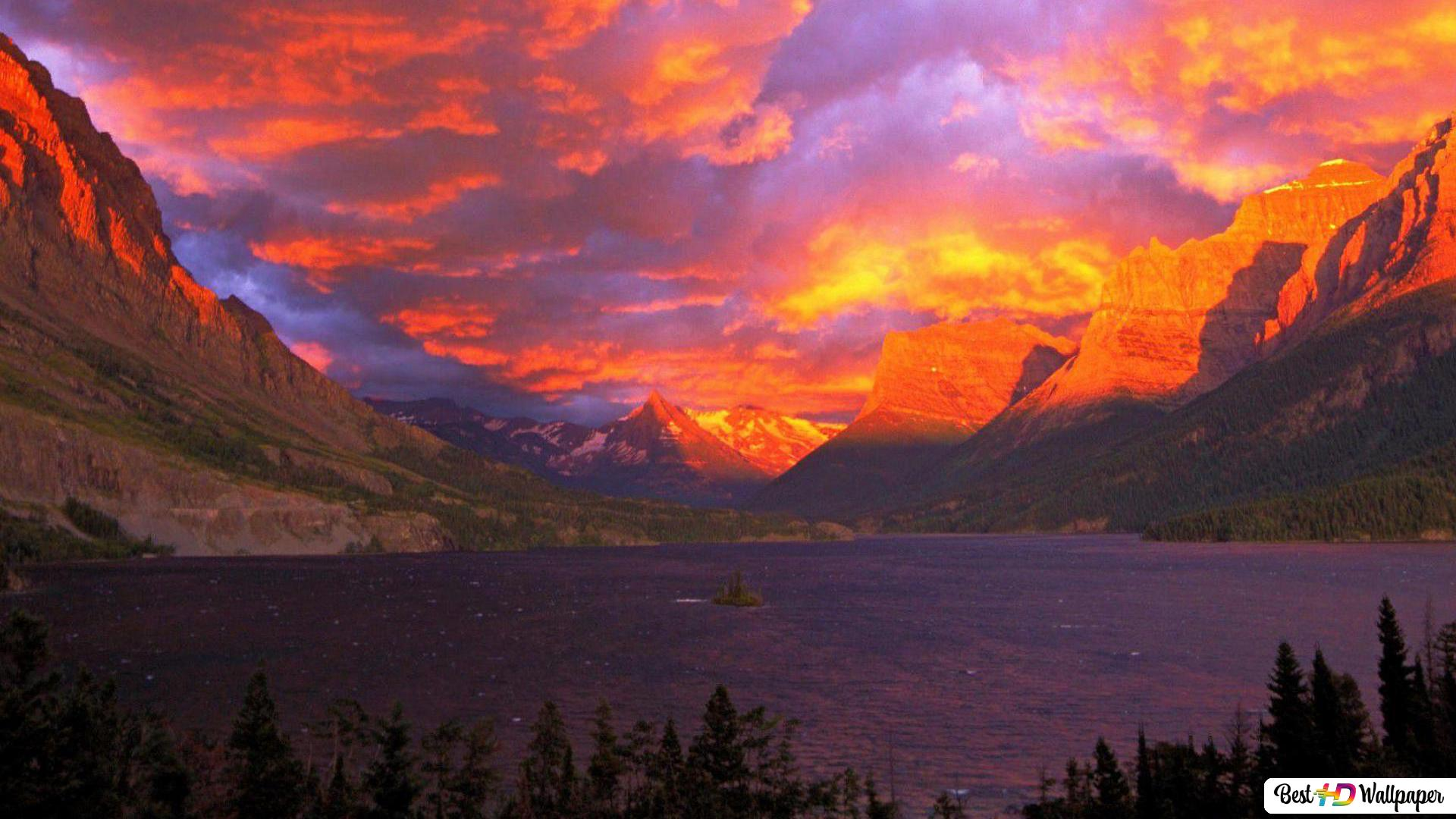 Sunset At Glacier National Park In Alberta Canada Hd Wallpaper