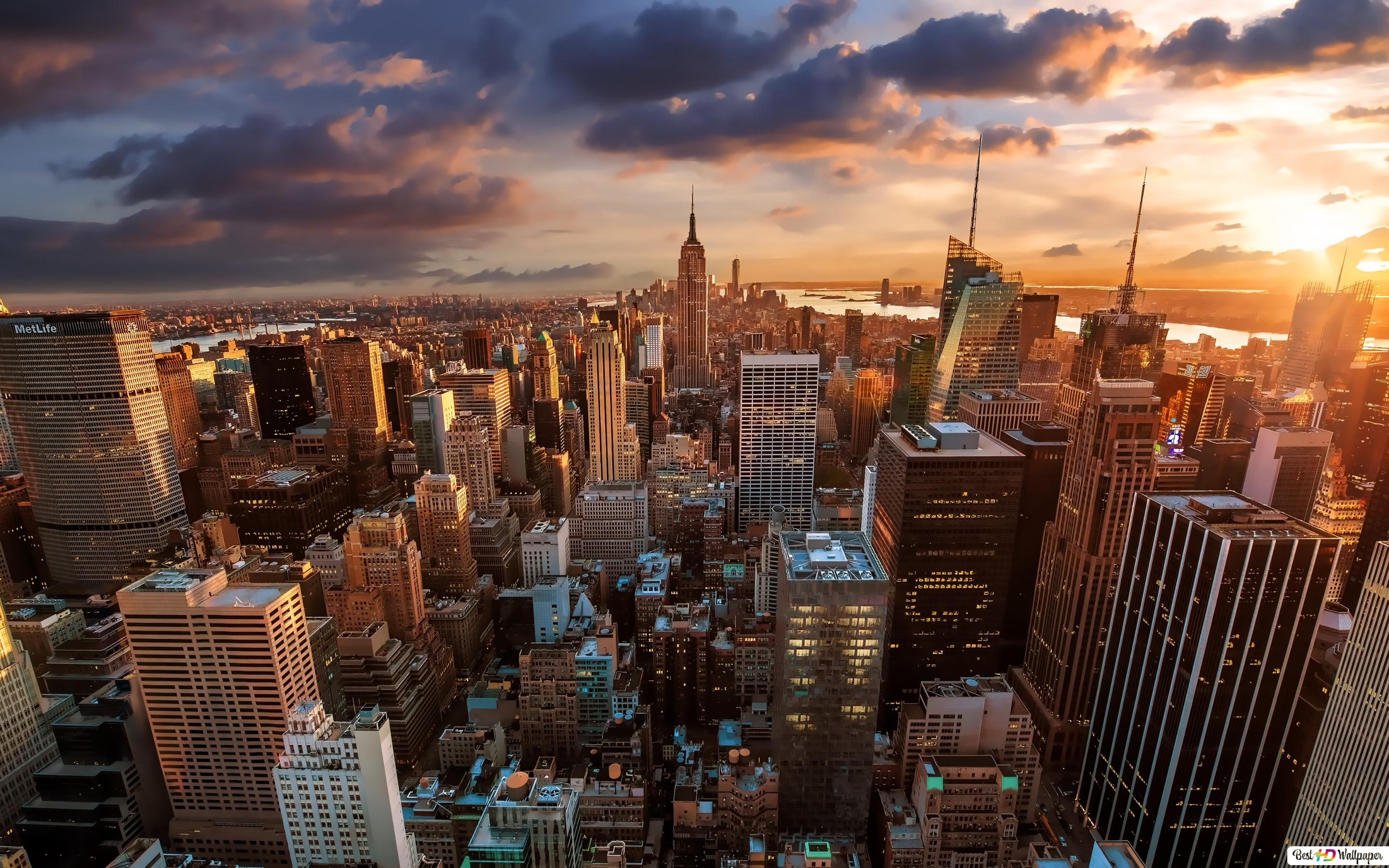 Sunset In New York City Hd Wallpaper Download