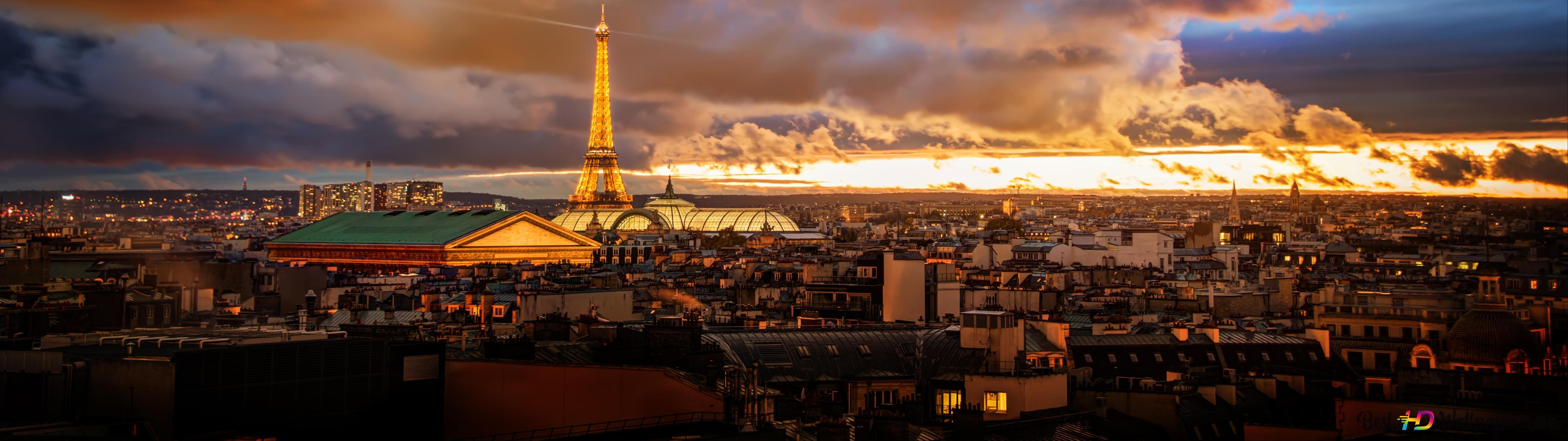 Sunset Over Paris Hd Wallpaper Download