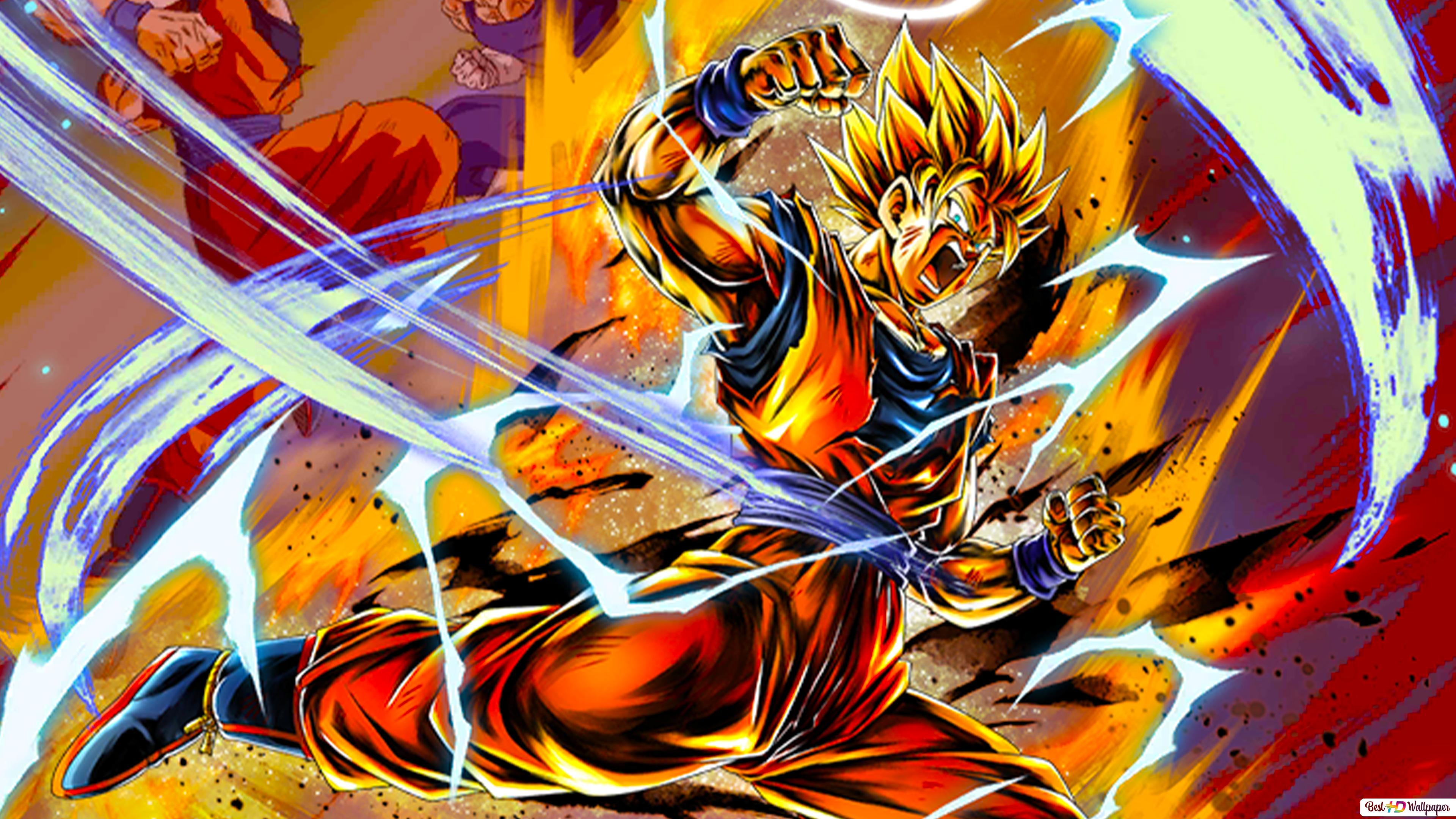 Super Saiyan 2 Goku Vs Majin Vegeta Dari Dragon Ball Z Dragon Ball Legends Arts Untuk Desktop Unduhan Wallpaper Hd