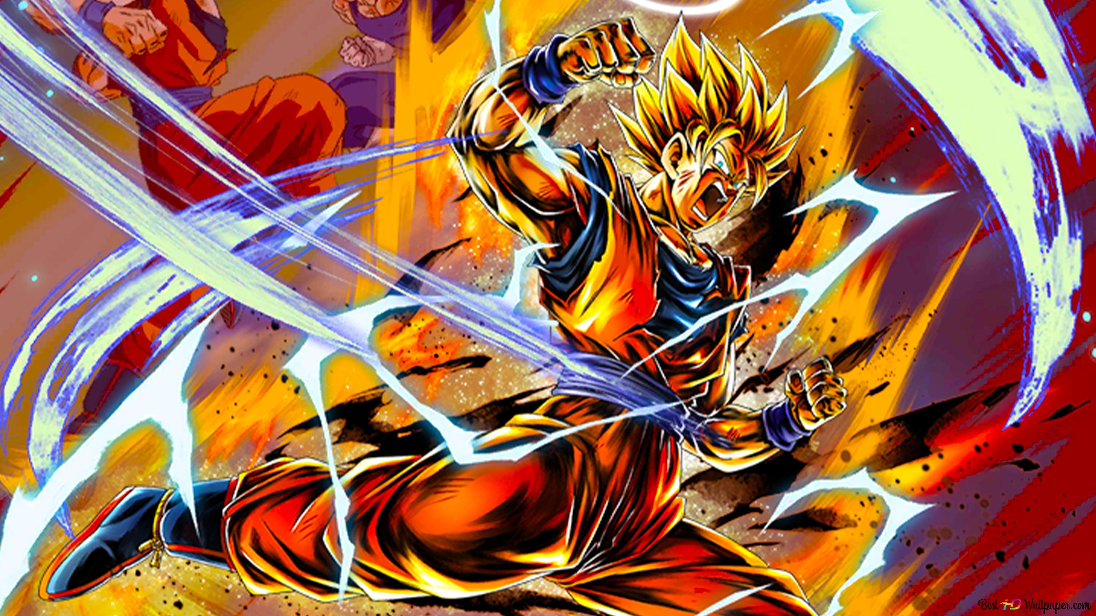 Super Saiyan 2 Goku Vs Majin Vegeta From Dragon Ball Z Dragon Ball Legends Arts For Desktop Hd Wallpaper Download