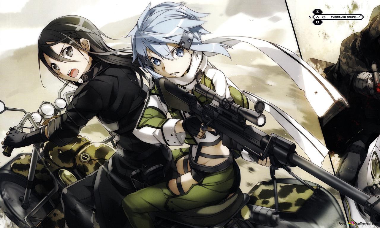Sword Art Online Ii Kirito Sinon Death Gun Hd Wallpaper Download