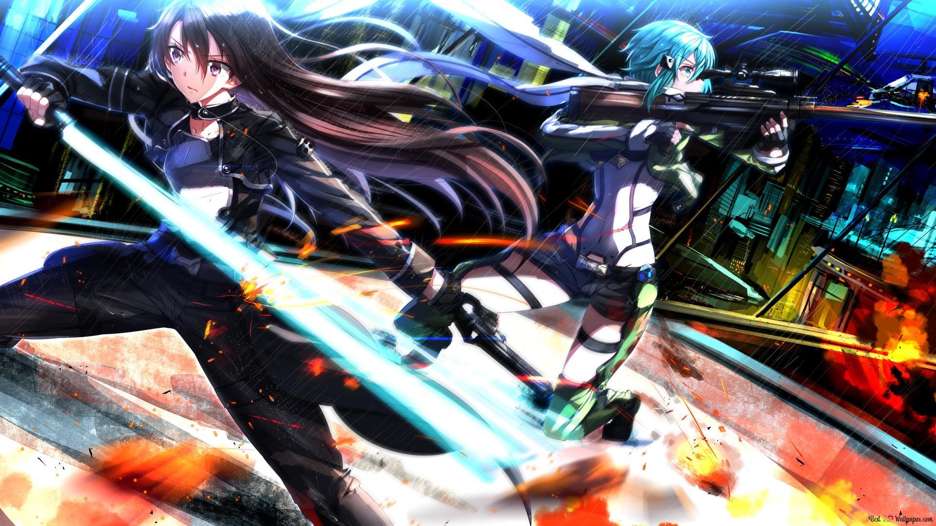Sword Art Online Ii Kirito Sinon Hd Wallpaper Download