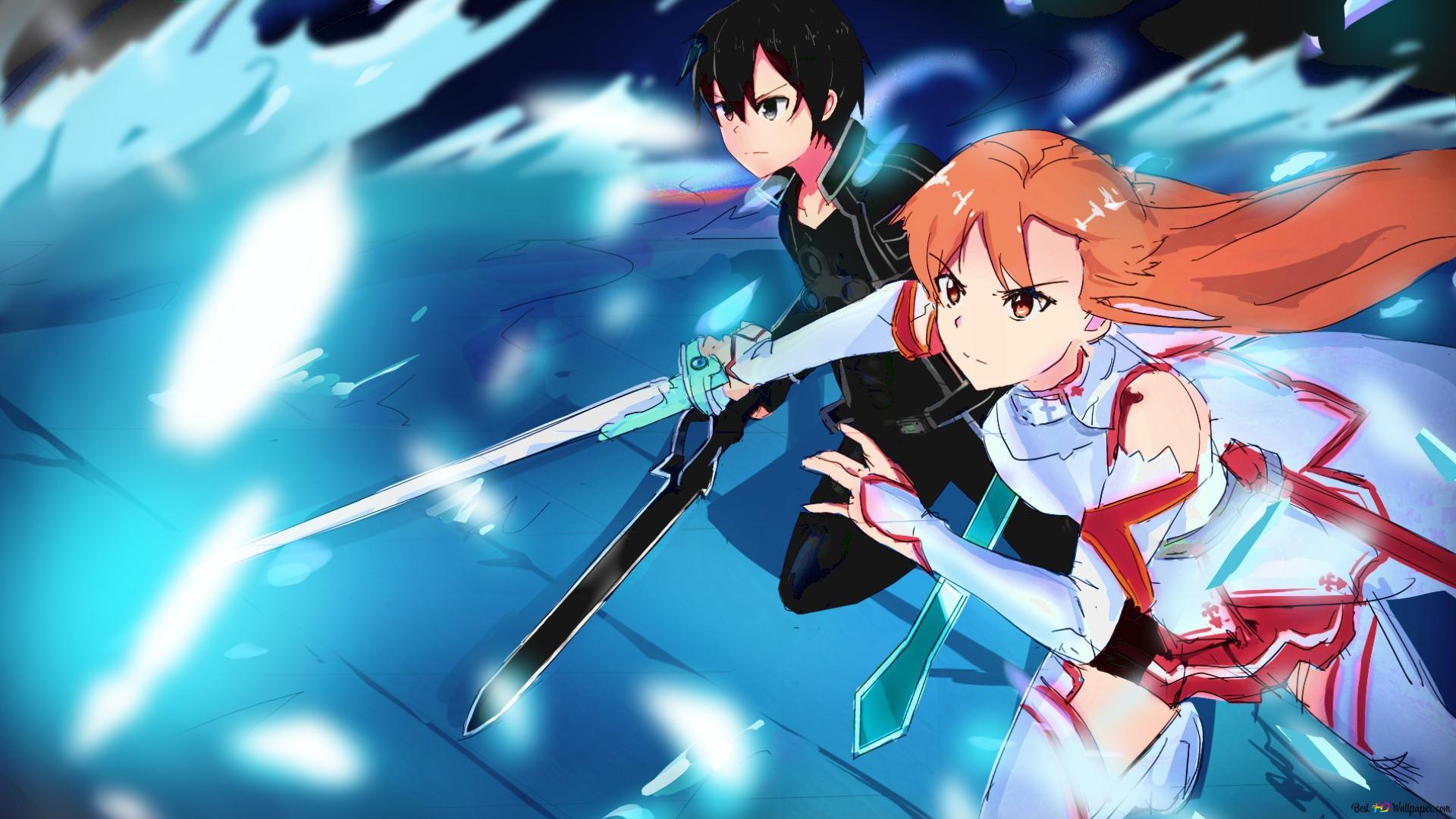 Sword Art Online Kirito Asuna Hd Wallpaper Download