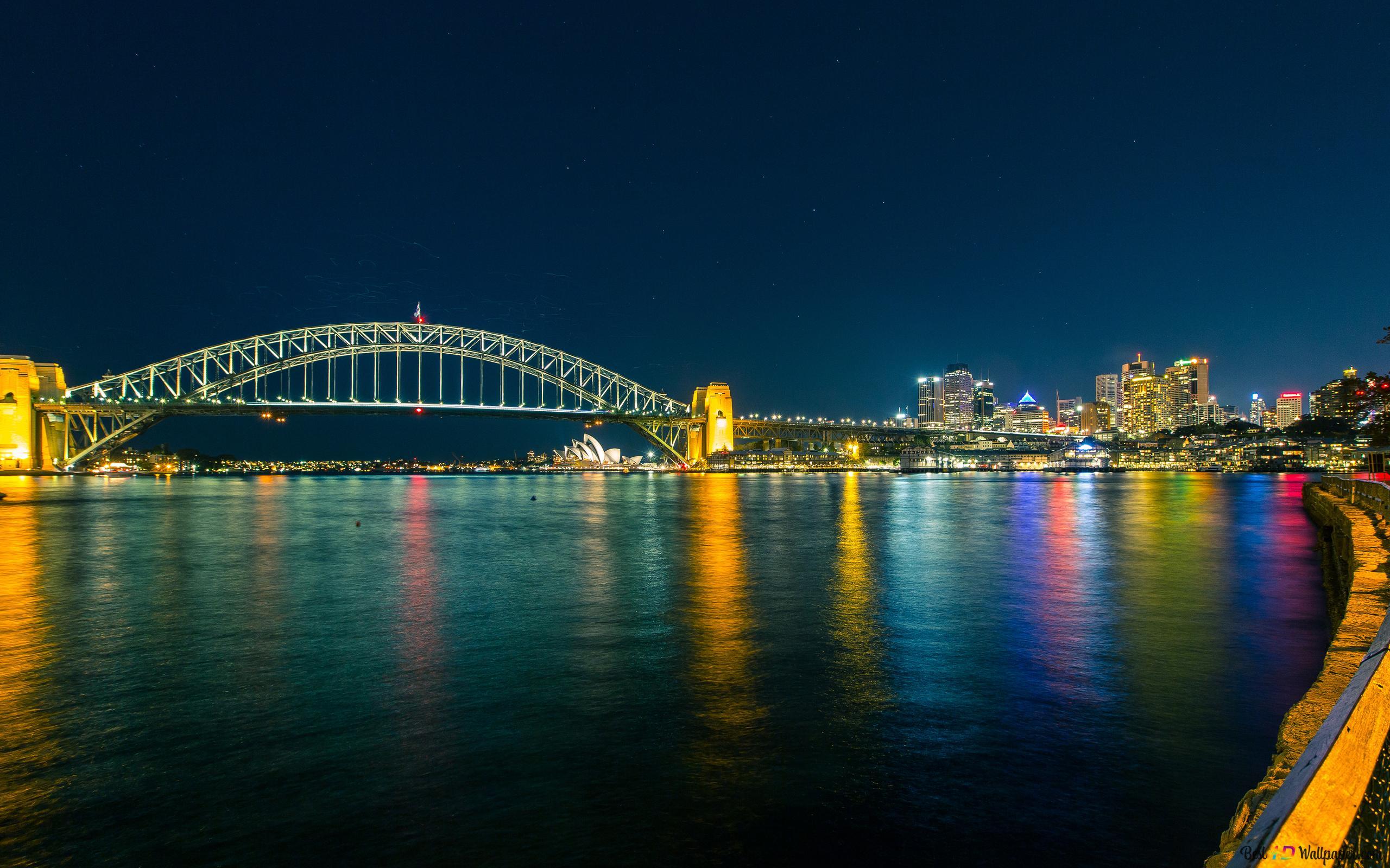 Sydney Harbour Bridge La Nuit Hd Fond Décran Télécharger