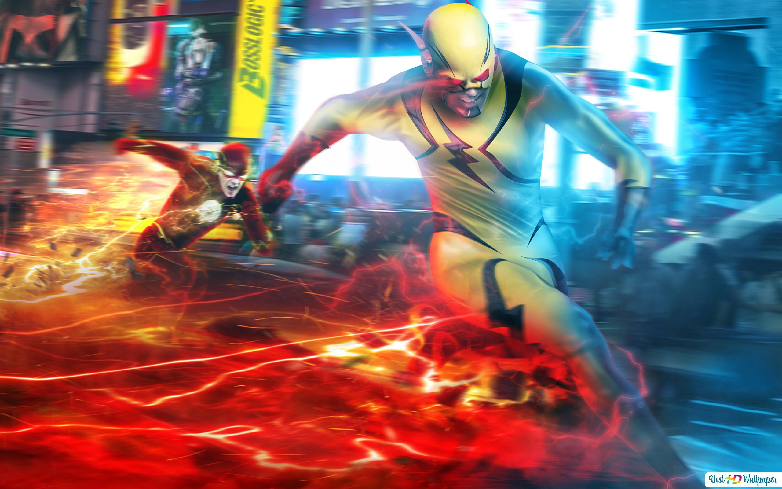 The Flash Series Flash Vs Reverse Flash Hd Wallpaper Download