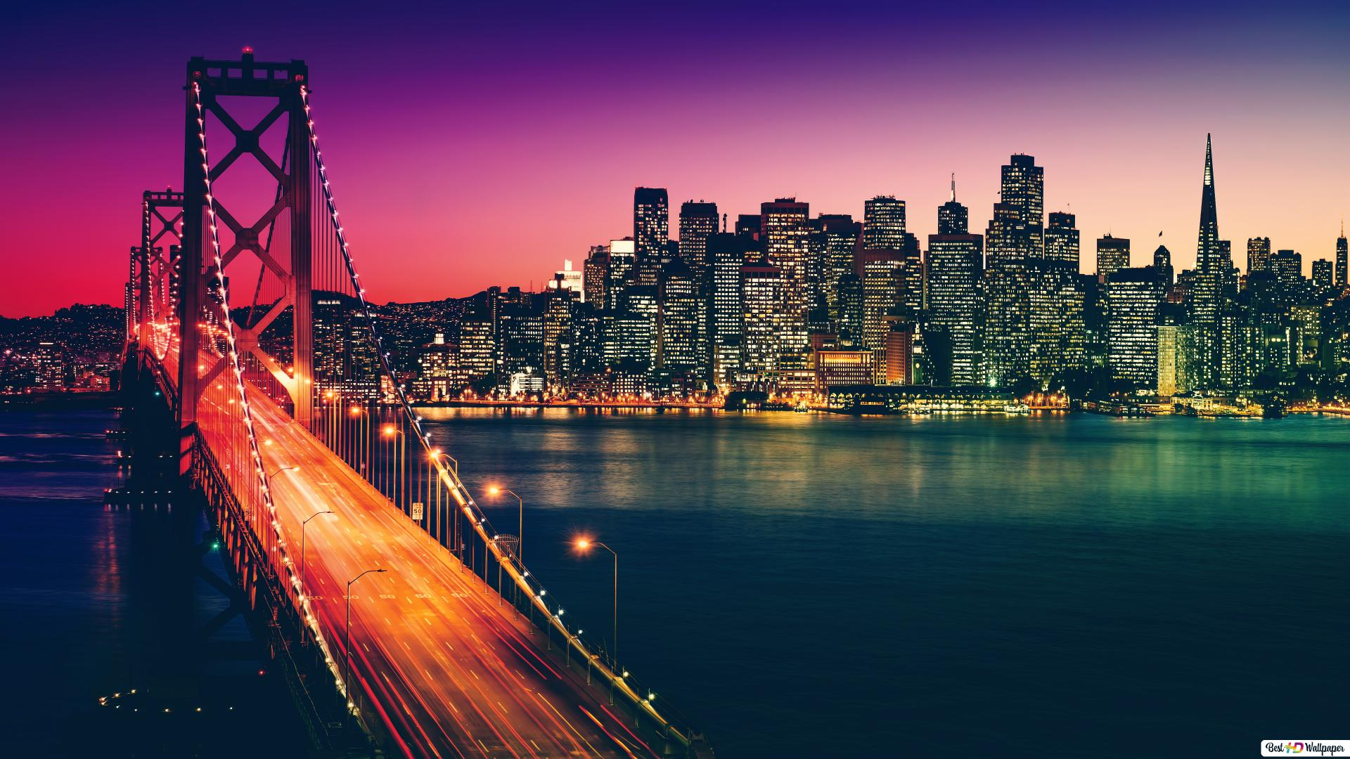 The Golden Gate San Francisco Colorful Night Hd Wallpaper Download