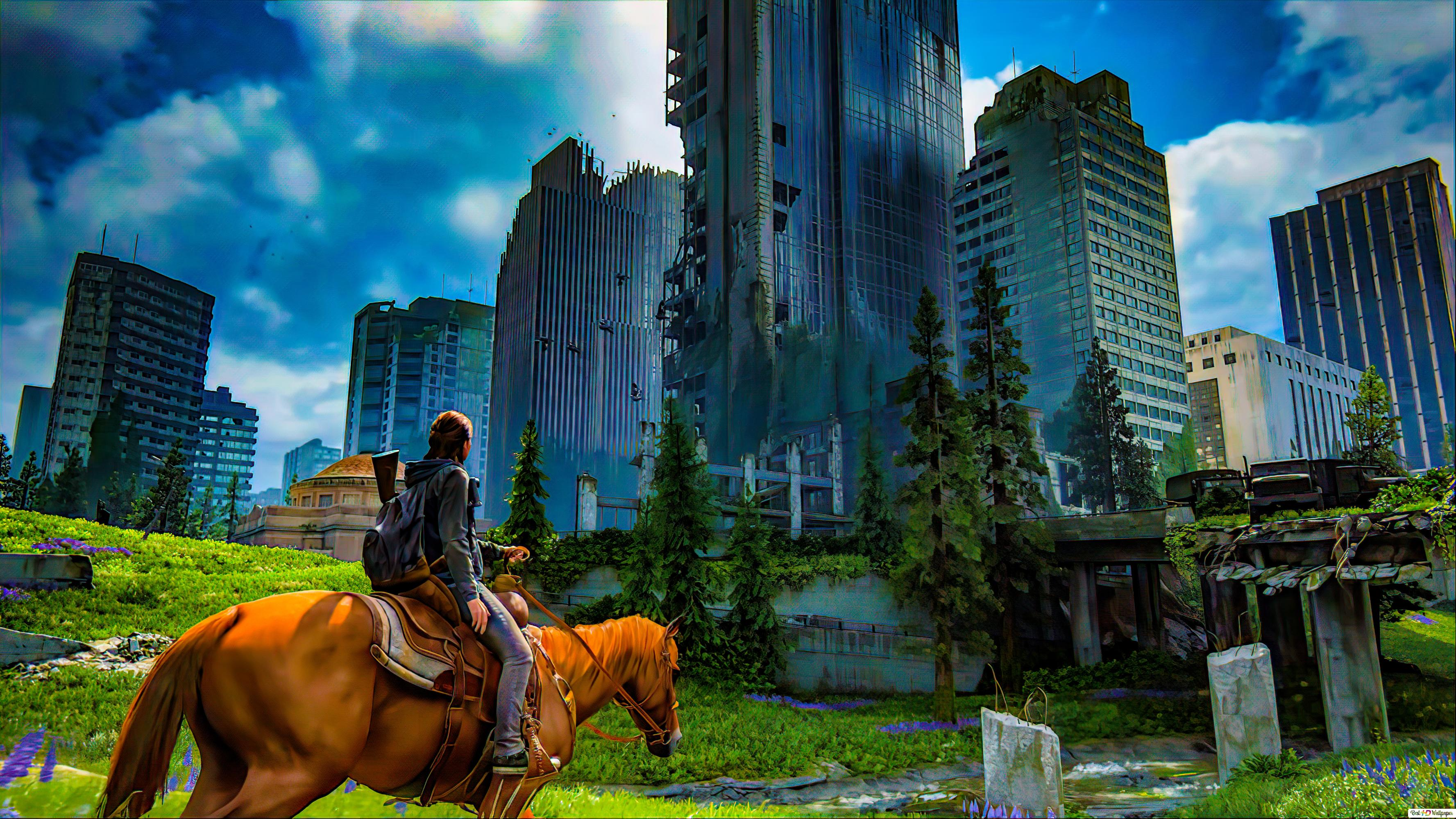 The Last Of Us 2 01 8k 4k Wallpaper Ellie With Horse City Hd Wallpaper Download