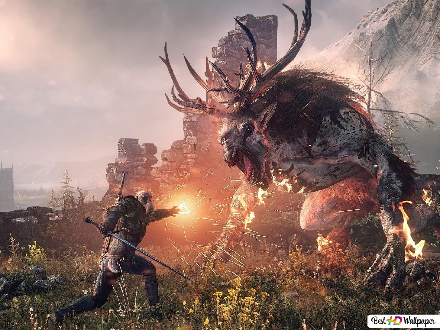The Witcher 3 Wild Hunt Battle With Monster Hd Wallpaper Download