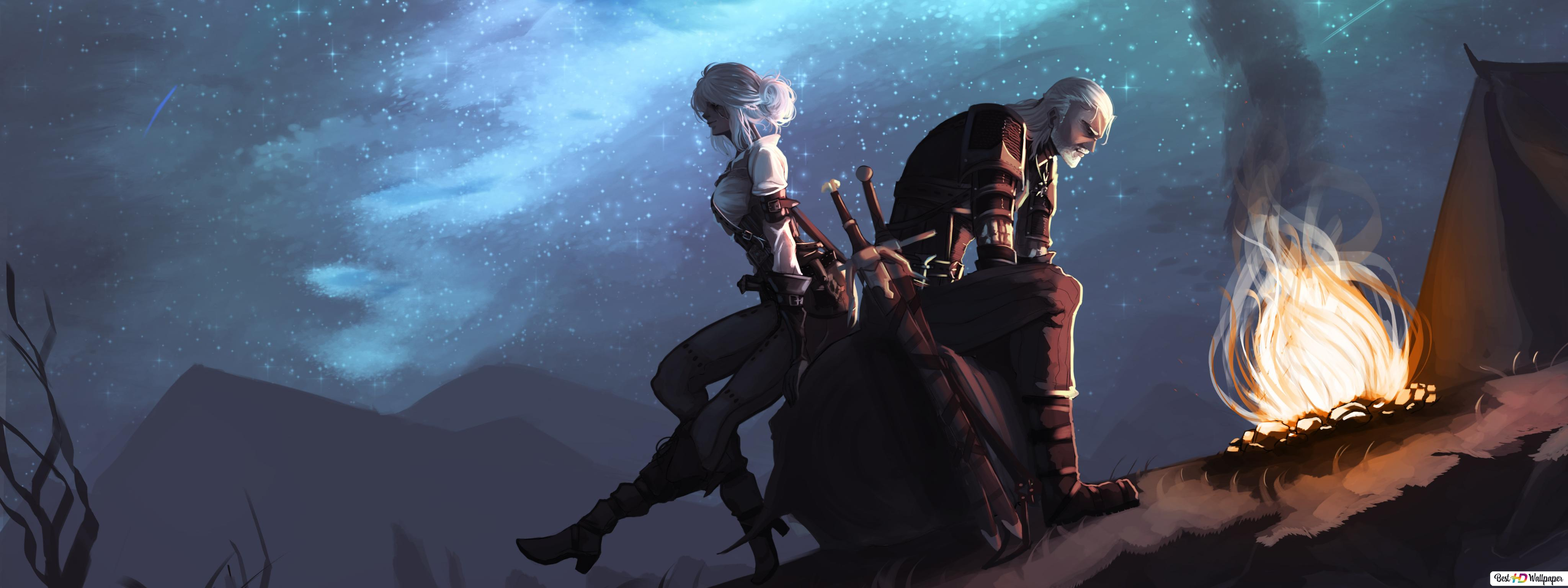 The Witcher 3 Wild Hunt Geralt Ciri Hd Wallpaper Download