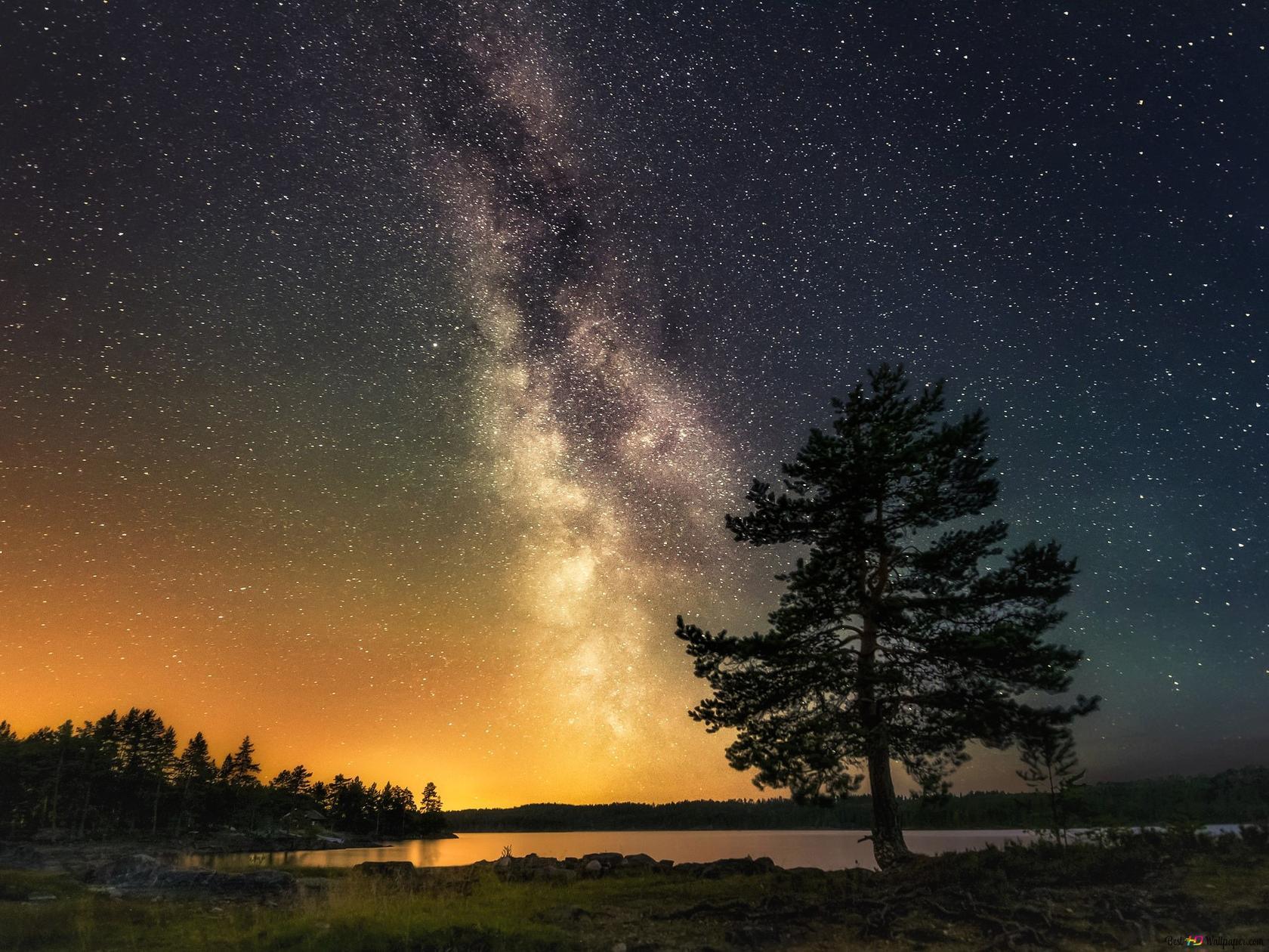 天の川の夜 Hd壁紙のダウンロード