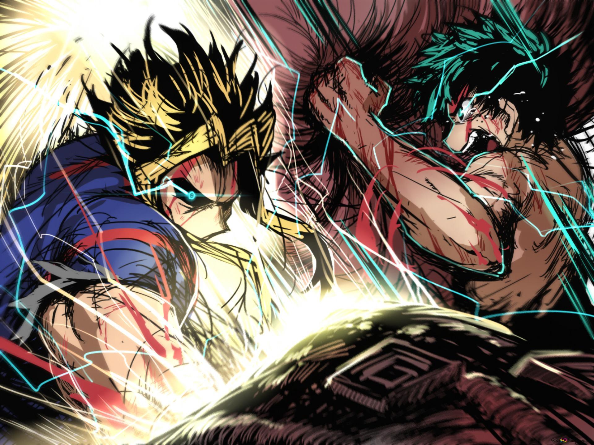 Tohinori And Izuku Fight My Hero Academia Hd Wallpaper Download
