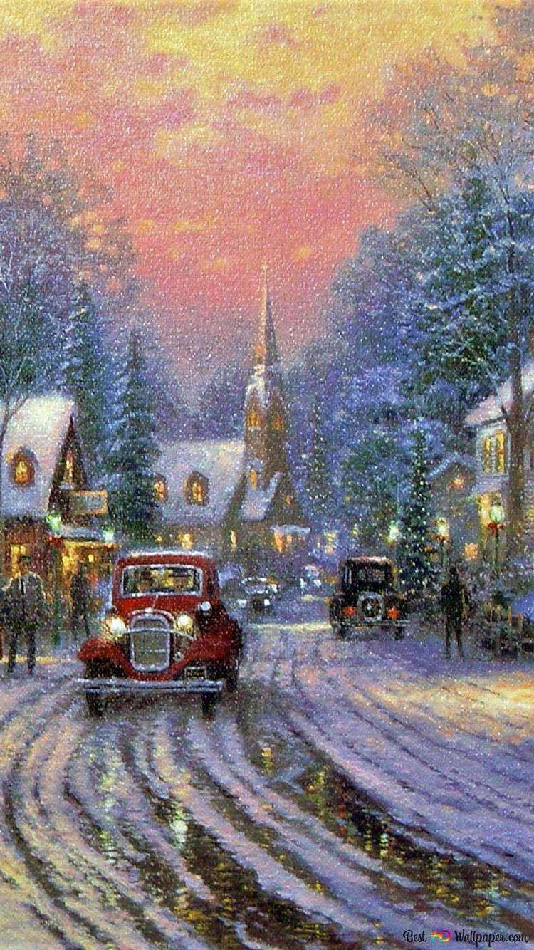 トーマス キンケードによるクリスマス絵画 Hd壁紙のダウンロード