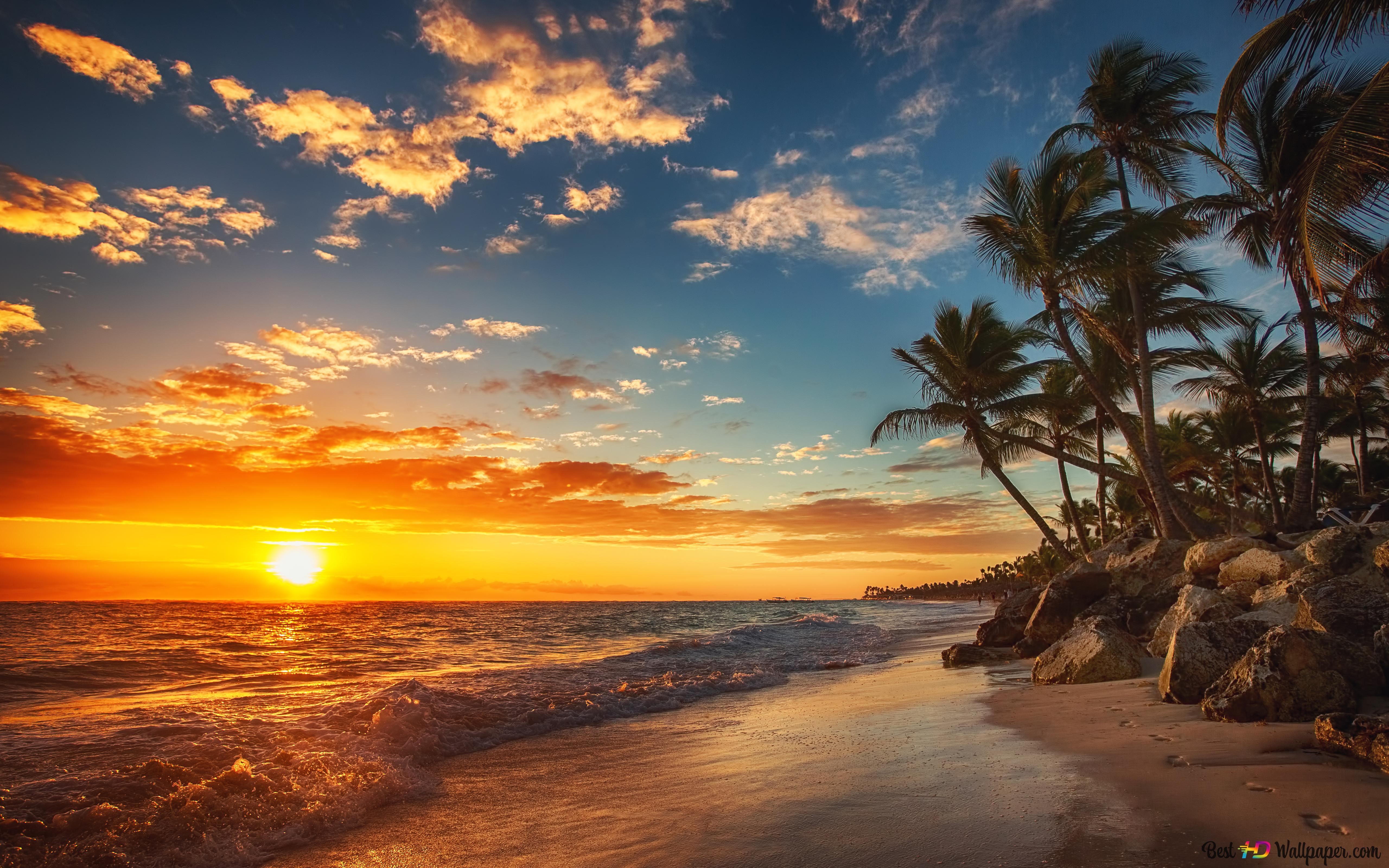 Tramonto Nel Spiaggia Del Mar Download Di Sfondi Hd