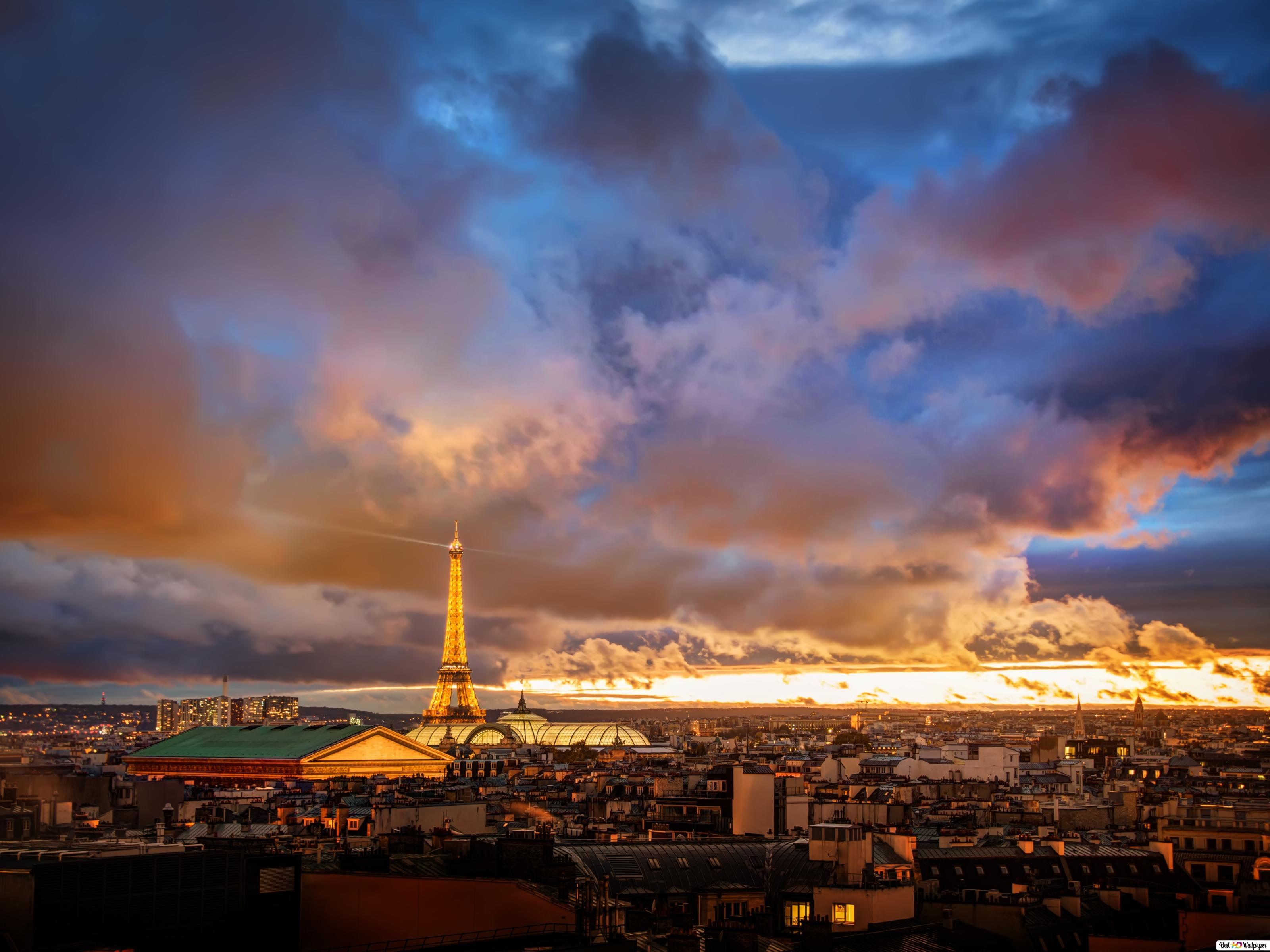 Tramonto Su Parigi Download Di Sfondi Hd